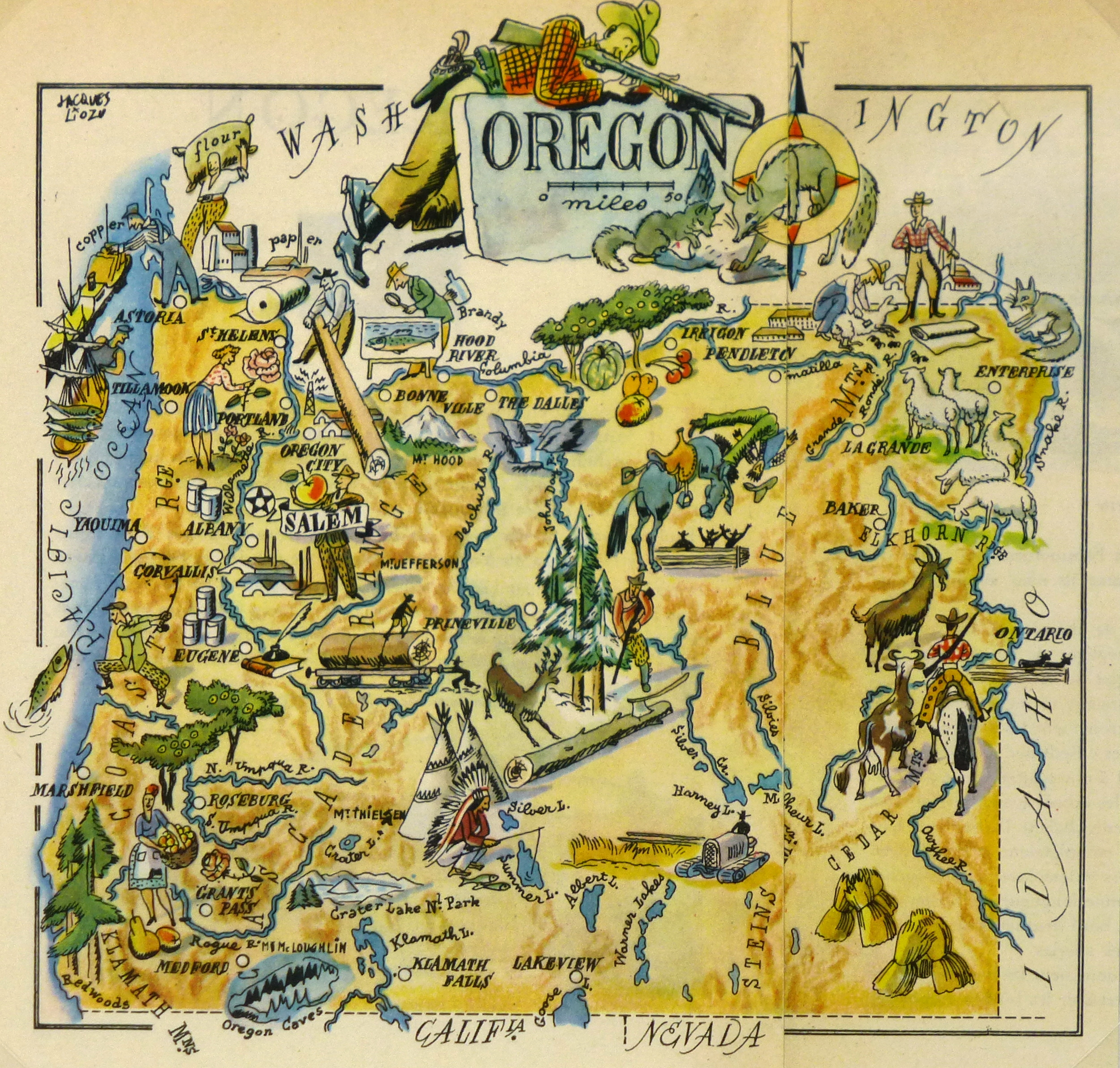 Oregon Pictorial Map, 1946-main-6281K