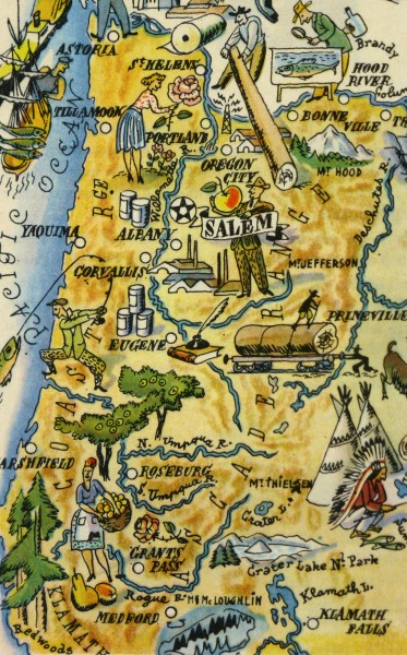 Oregon Pictorial Map, 1946-detail-6281K
