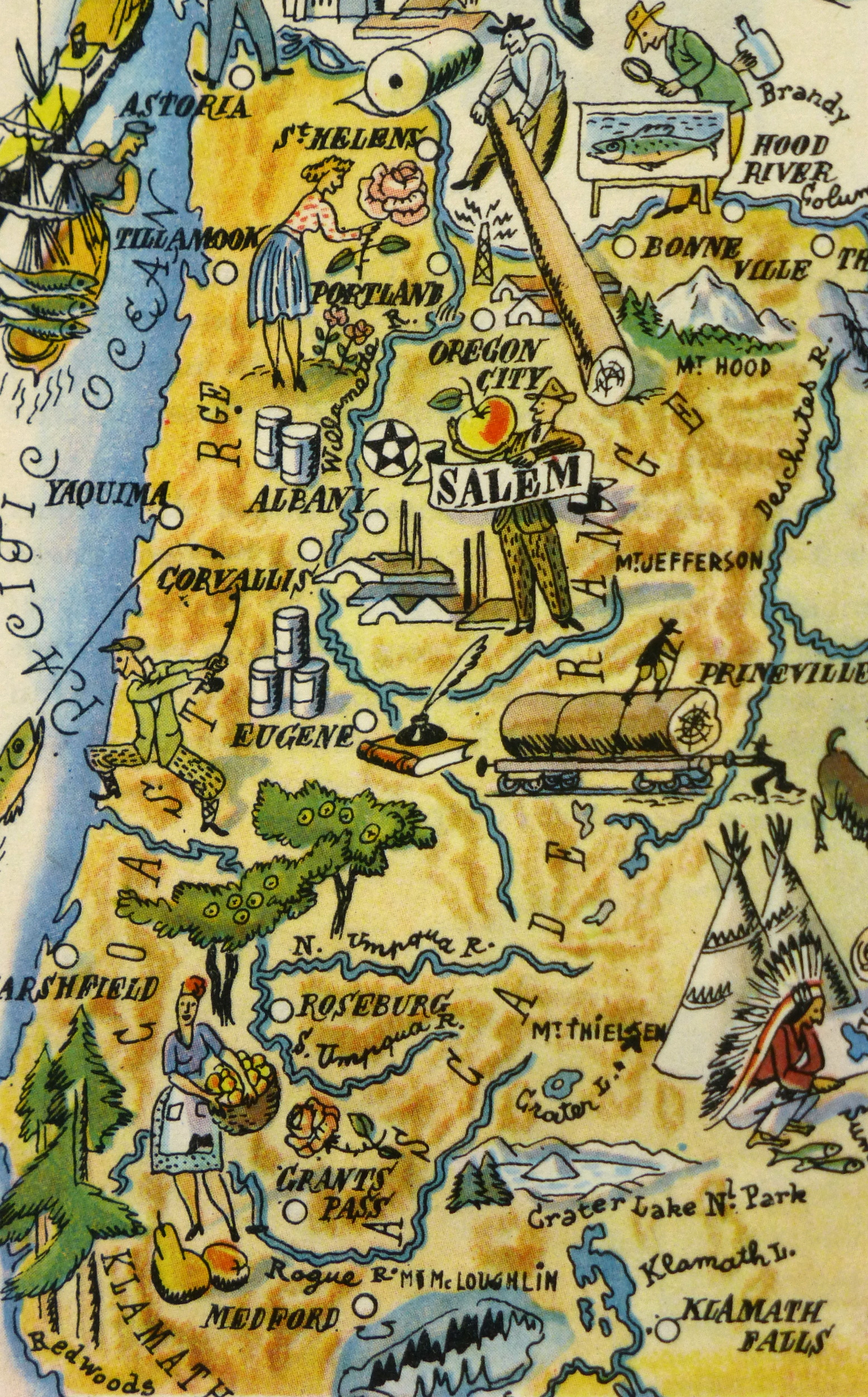oregon pictorial map  1946