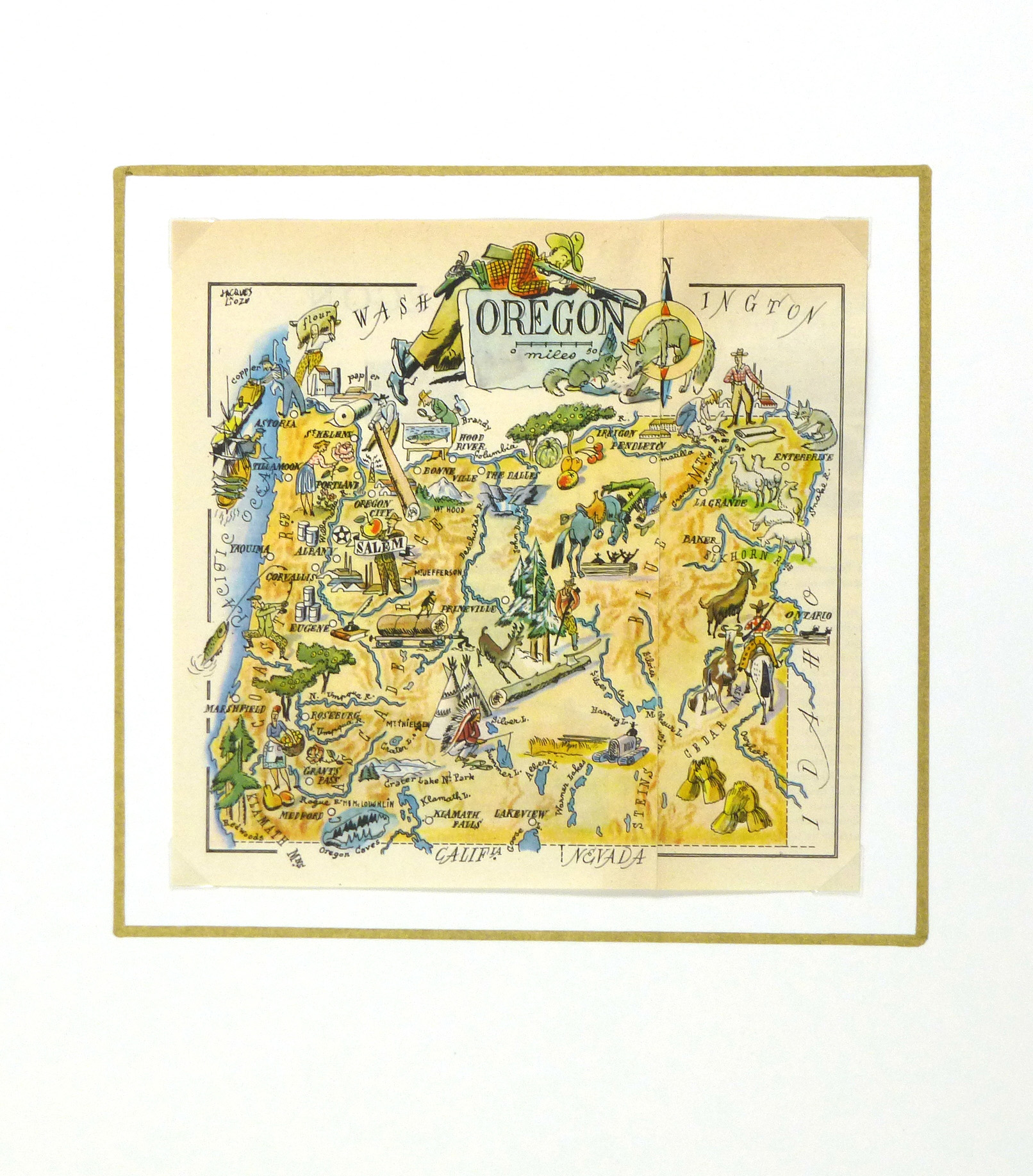 Oregon Pictorial Map, 1946-matted-6281K