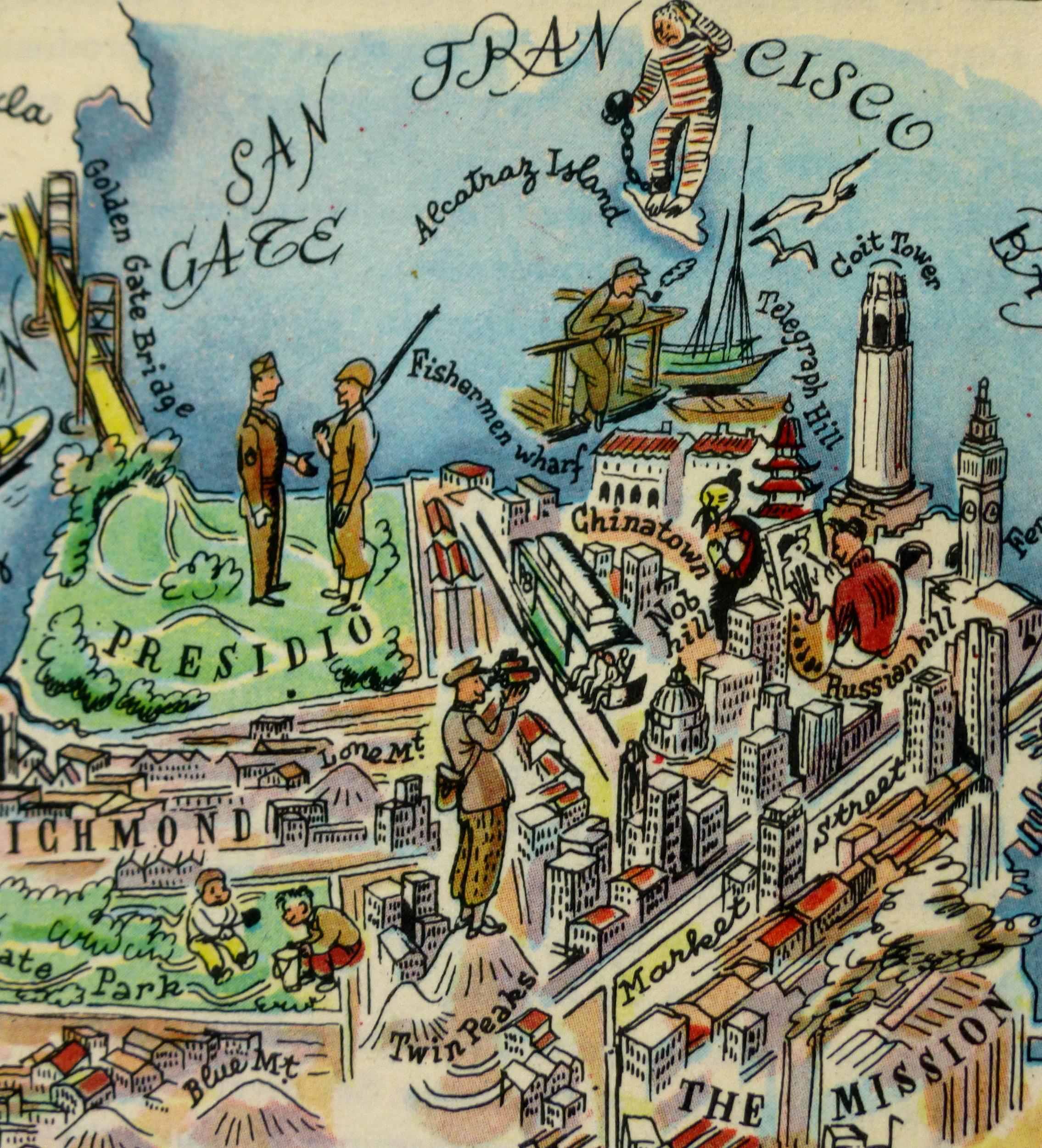 San Francisco Pictorial Map, 1946-detail-6282K