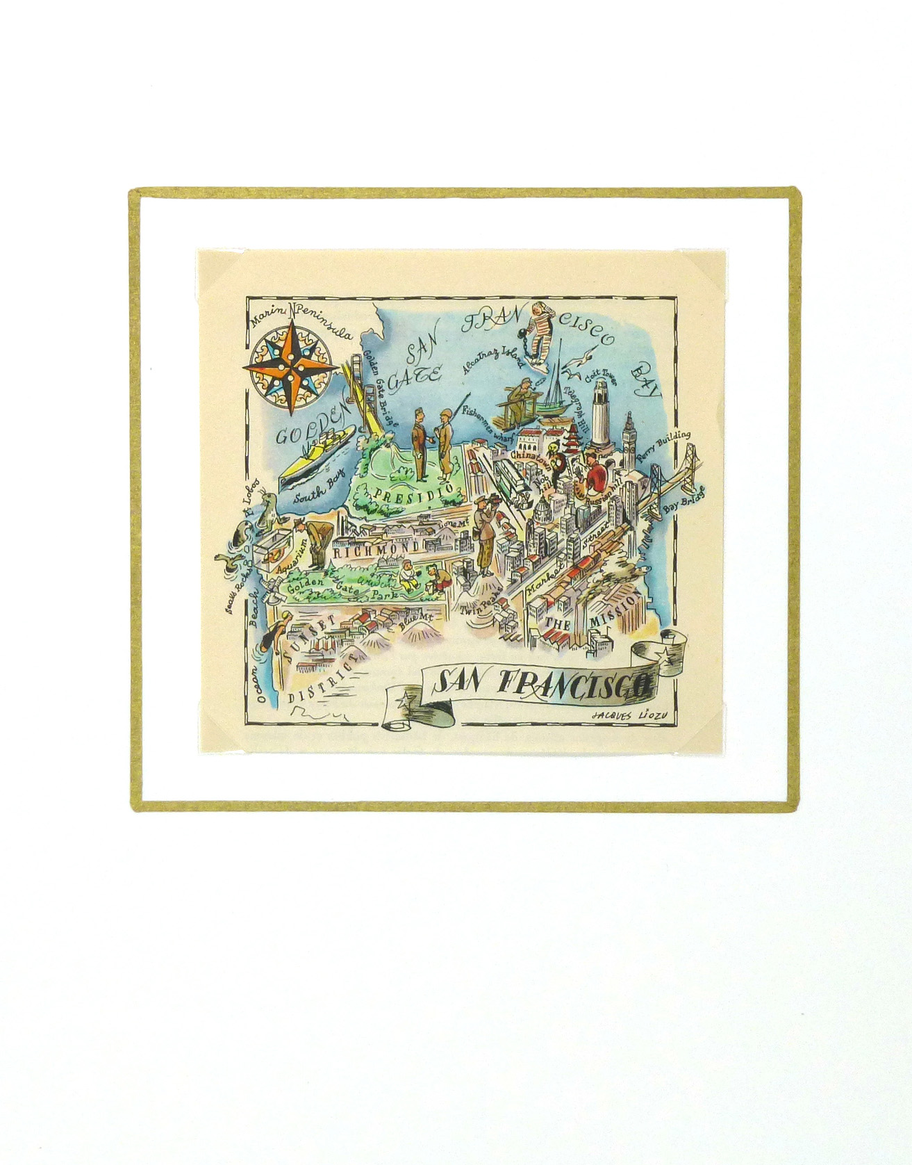 San Francisco Pictorial Map, 1946-matted-6282K