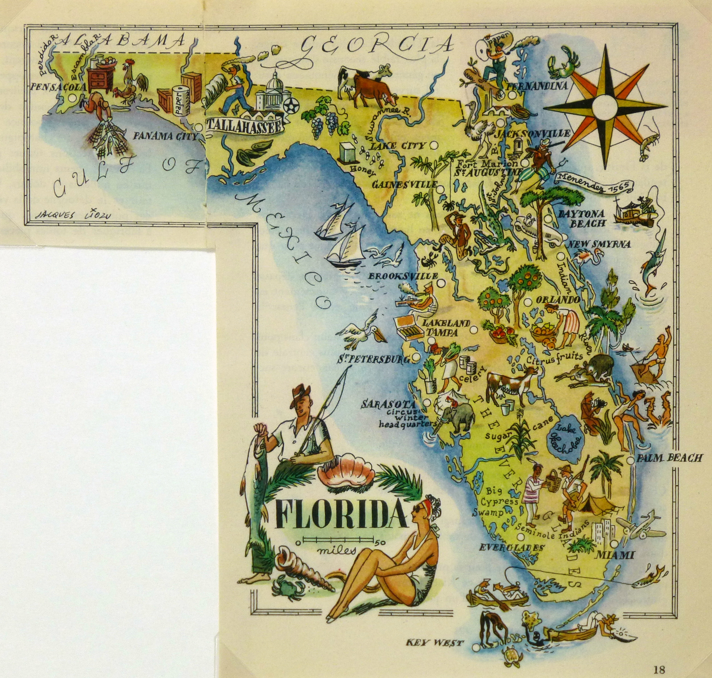 Florida Pictorial Map 1946