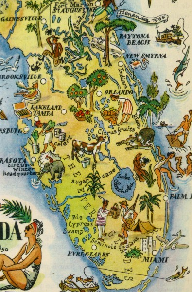 Pictorial Map - Florida, 1946-detail-6283K