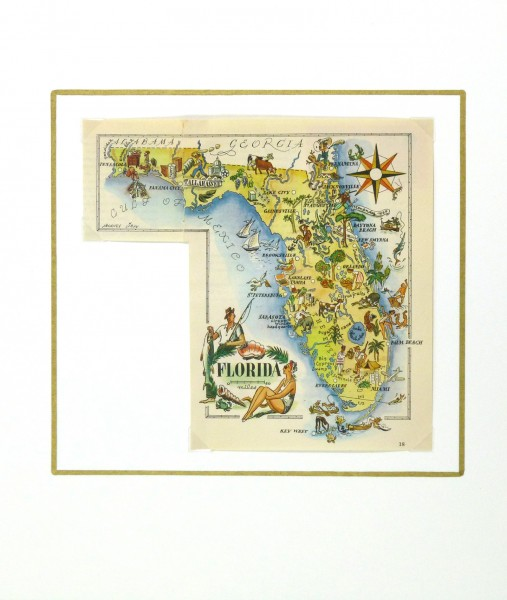Pictorial Map - Florida, 1946-matted-6283K