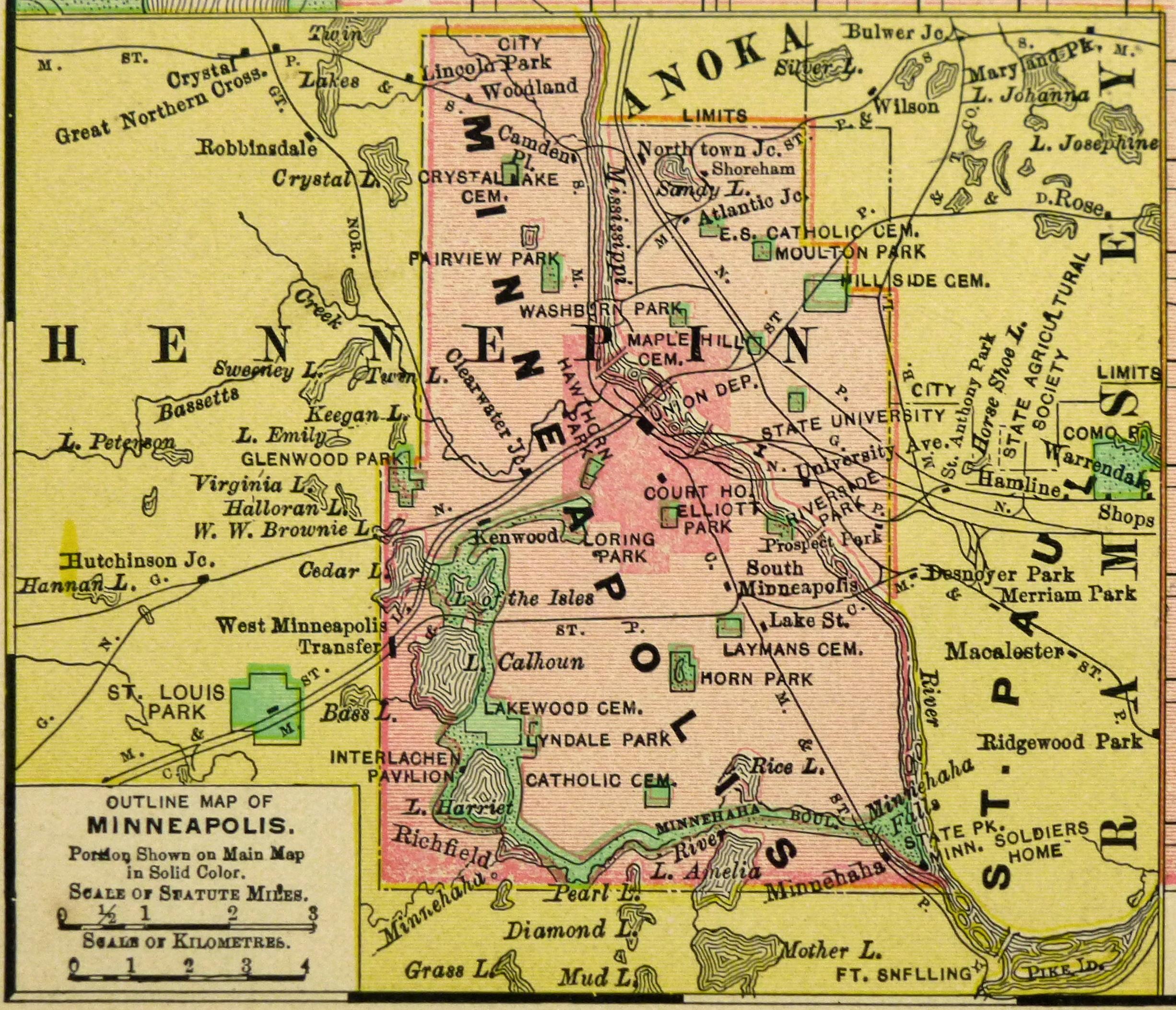 Minneapolis Map 1895 Original Art Antique Maps Prints