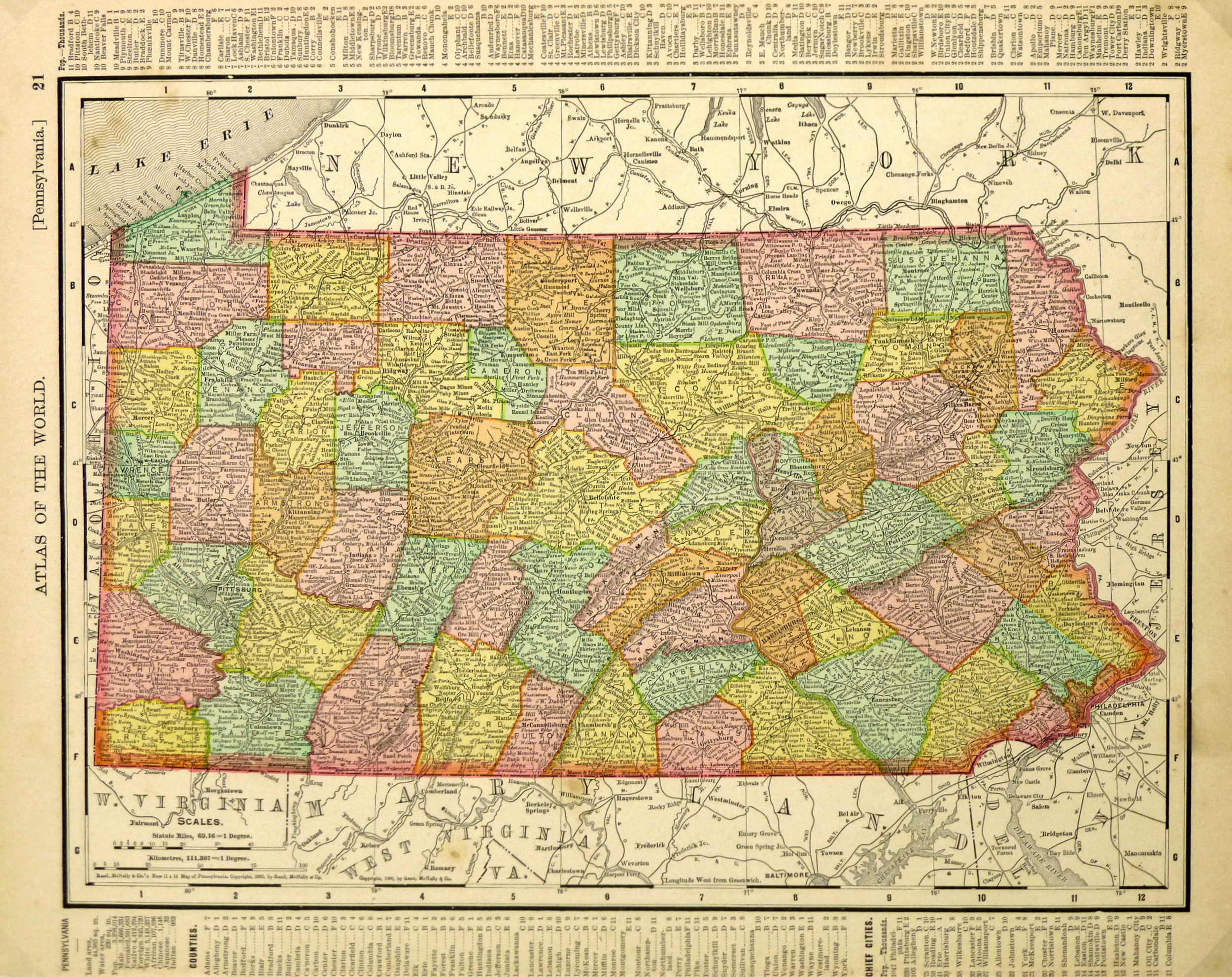 Map of Pennsylvania, 1895-main-6449K