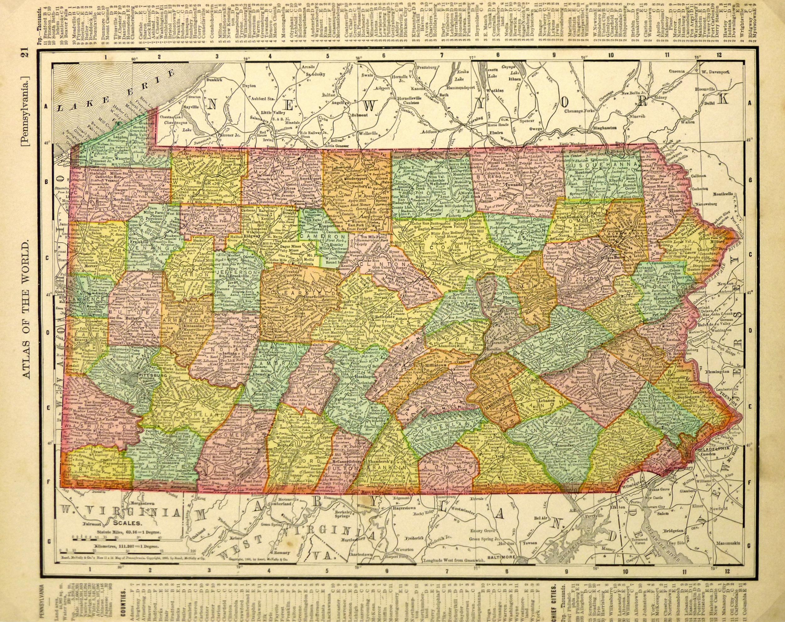 Map of Pennsylvania, 1895-main-6449K
