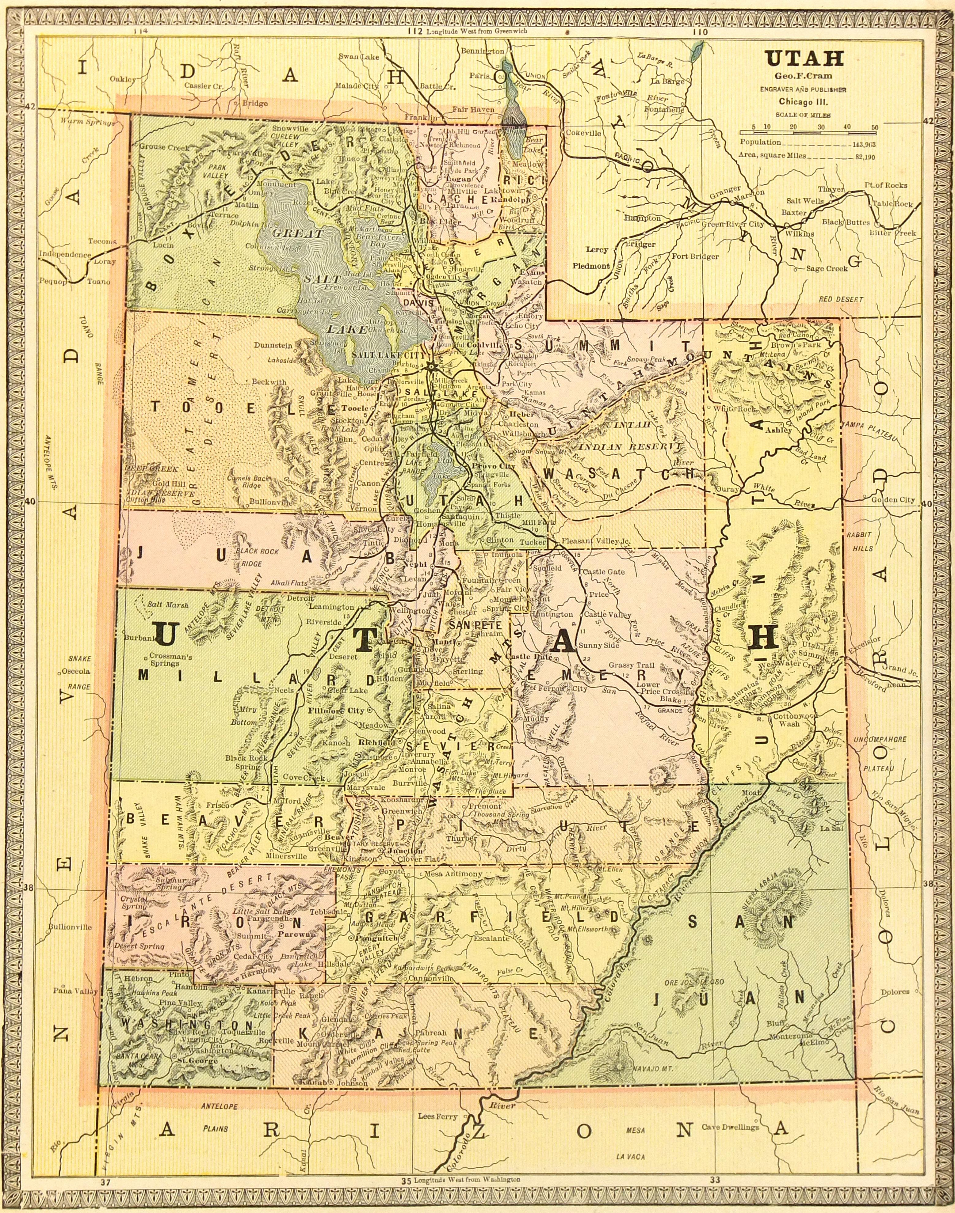 Utah Map, 1890-main-6471K