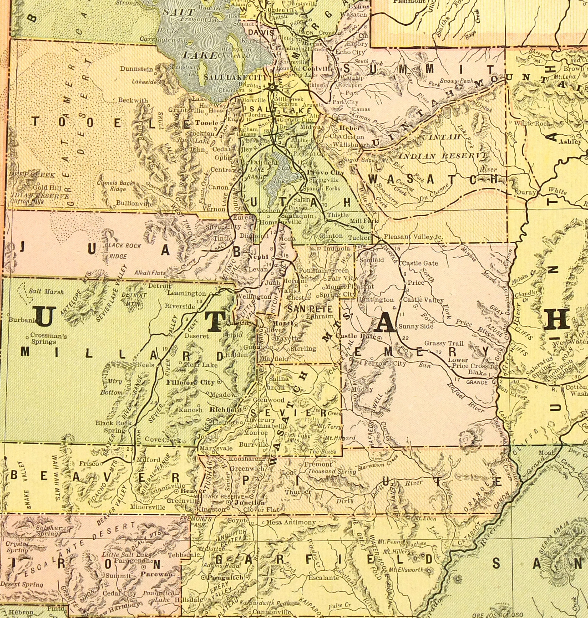 Utah Map 1890 Original Art Antique Maps Prints
