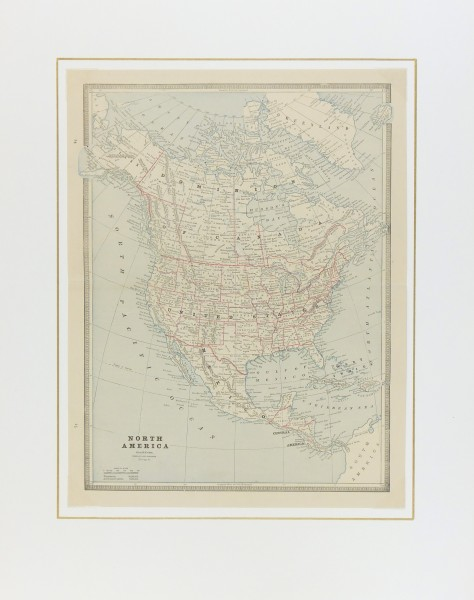 North America Map, 1890-matted-6479K