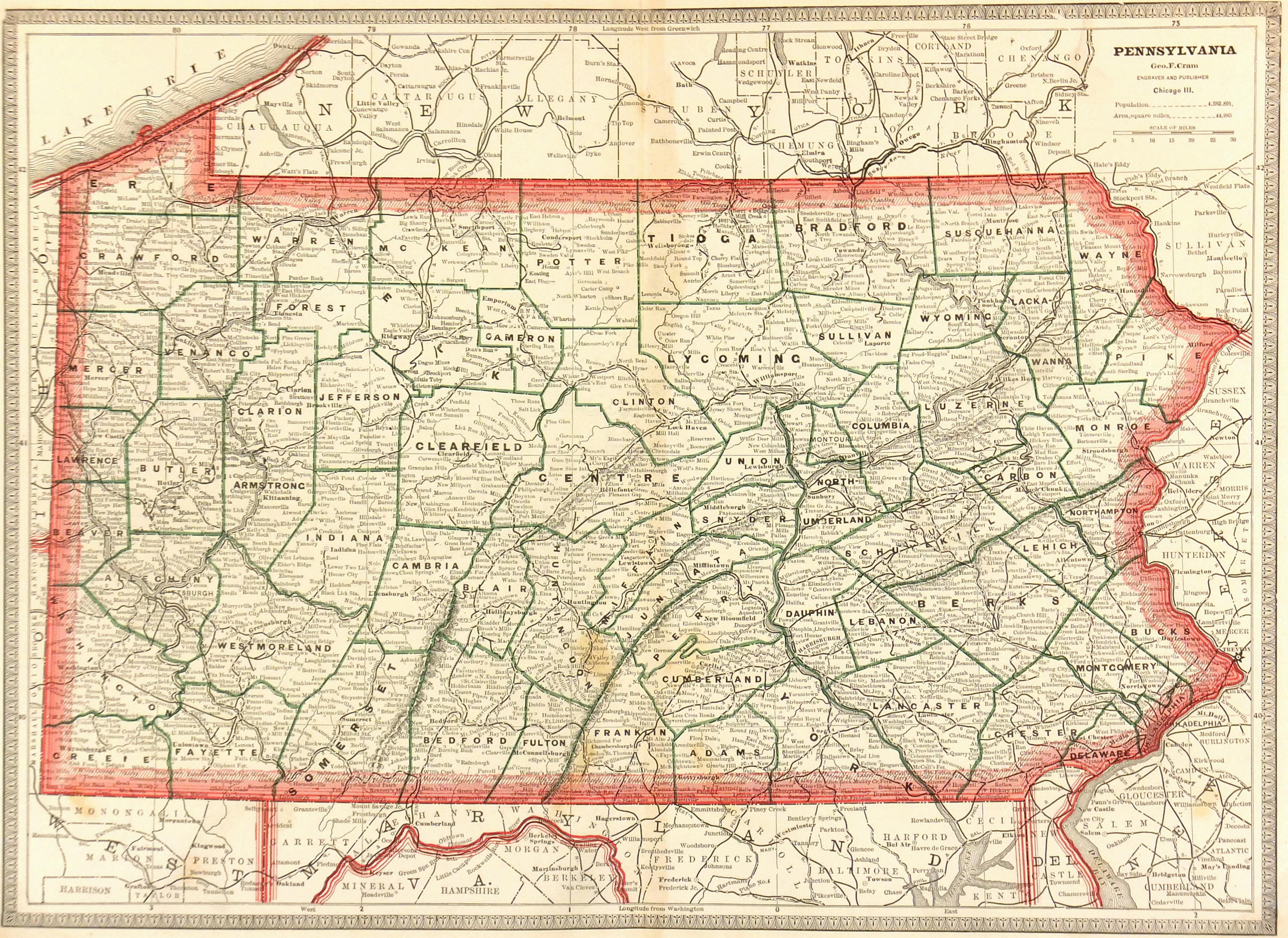 Pennsylvania Map, 1890-main-6483K