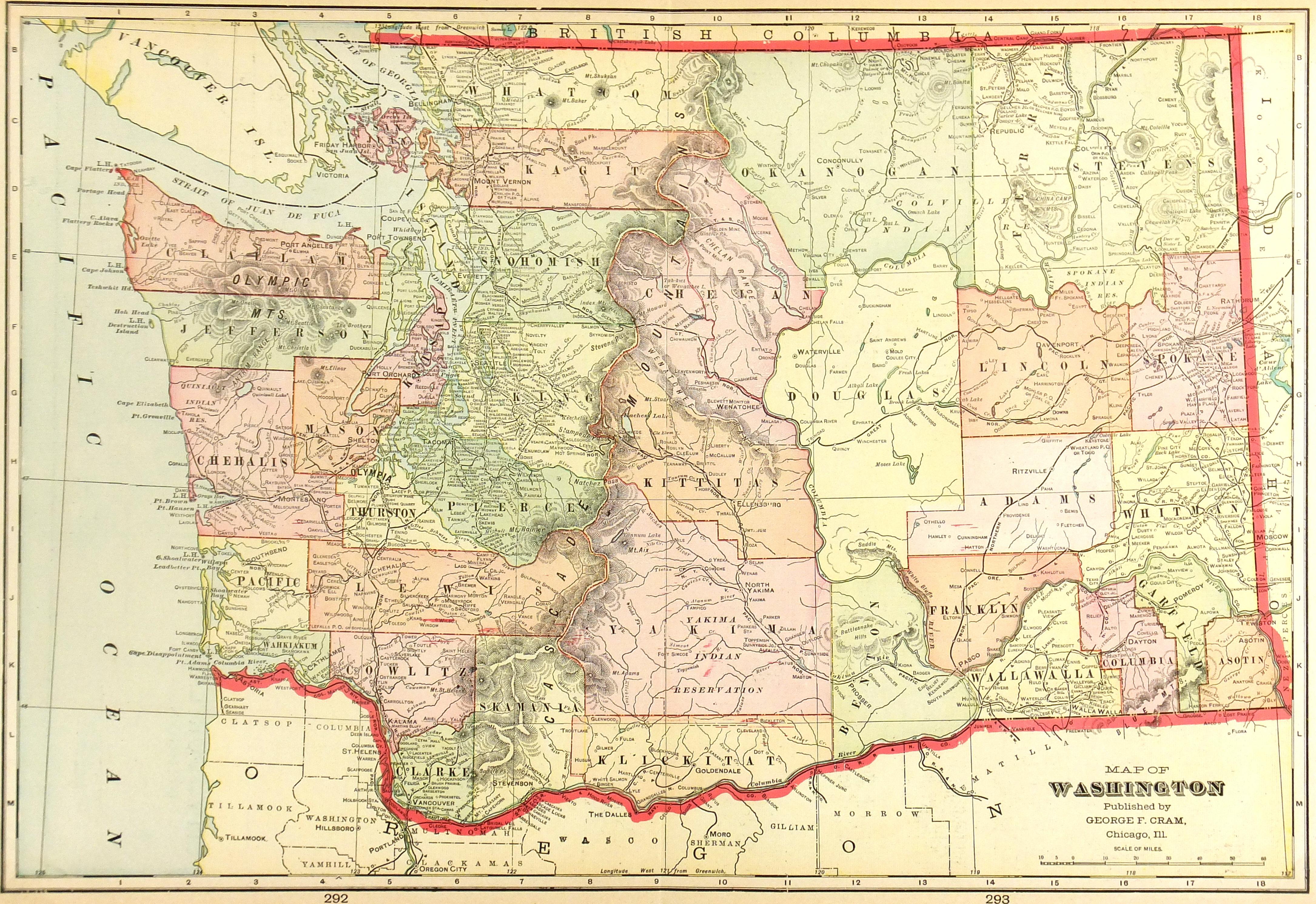 Map of Washington, 1908