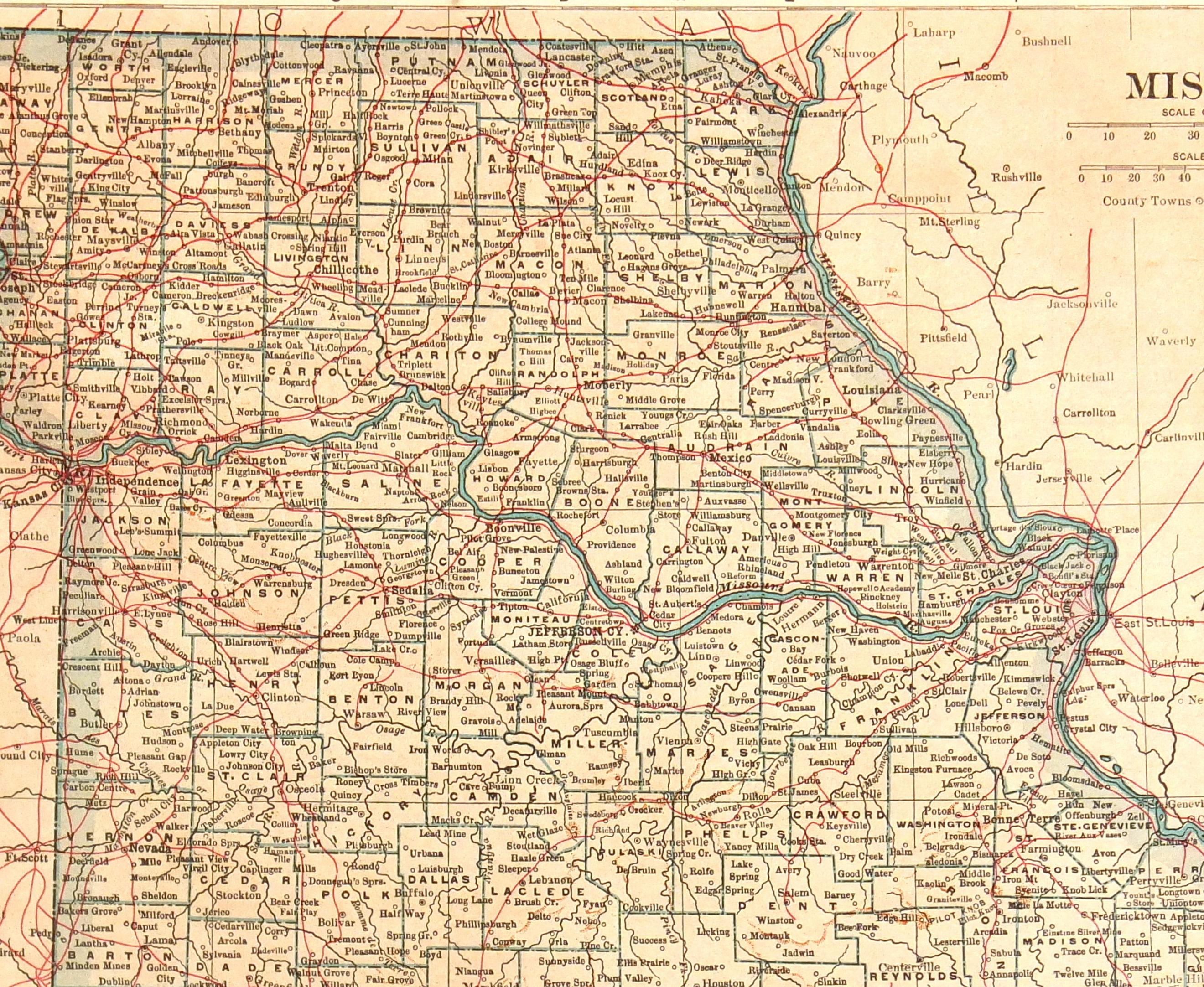 Missouri Map, 1907-detail-6532K