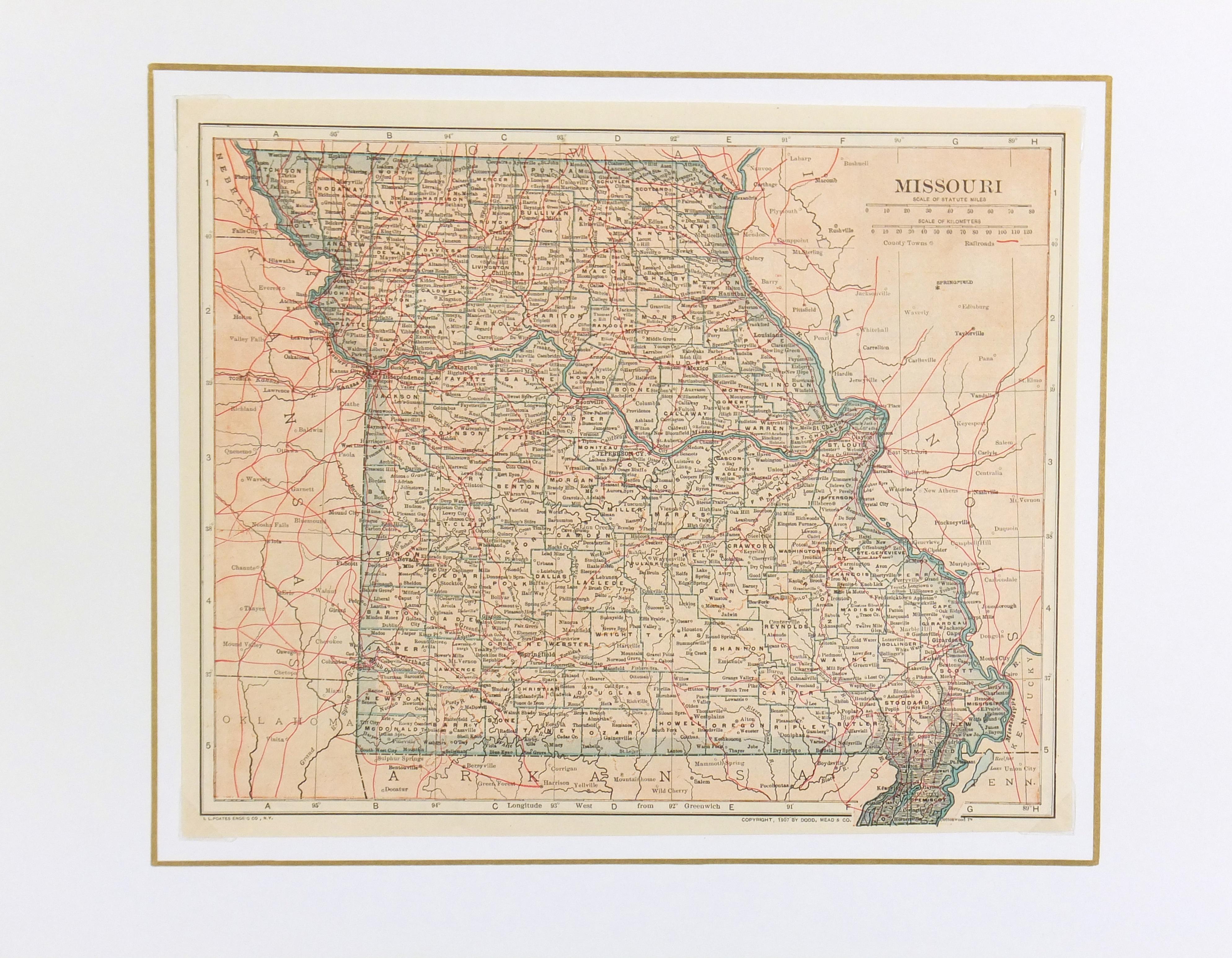 Missouri Map, 1907-matted-6532K
