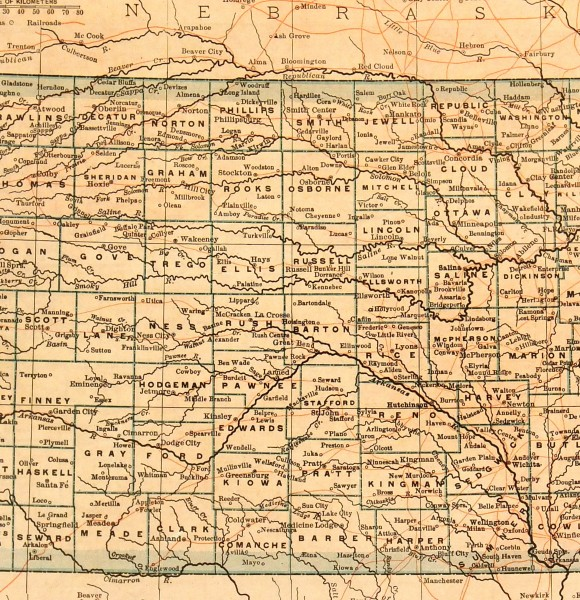 Map of Kansas, 1907-detail-6534K