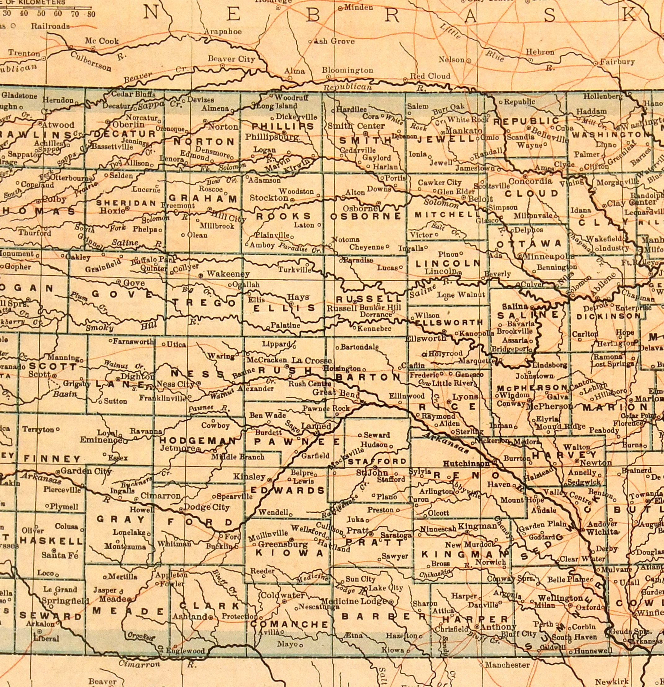 Map of Kansas, 1907-detail-6534K
