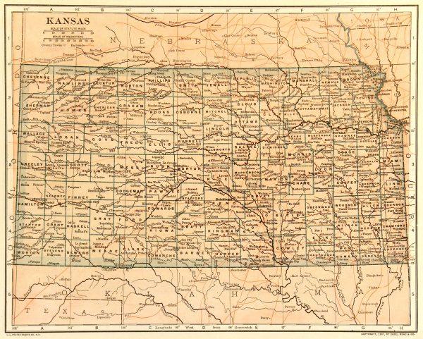 Map of Kansas, 1907-main-6534K