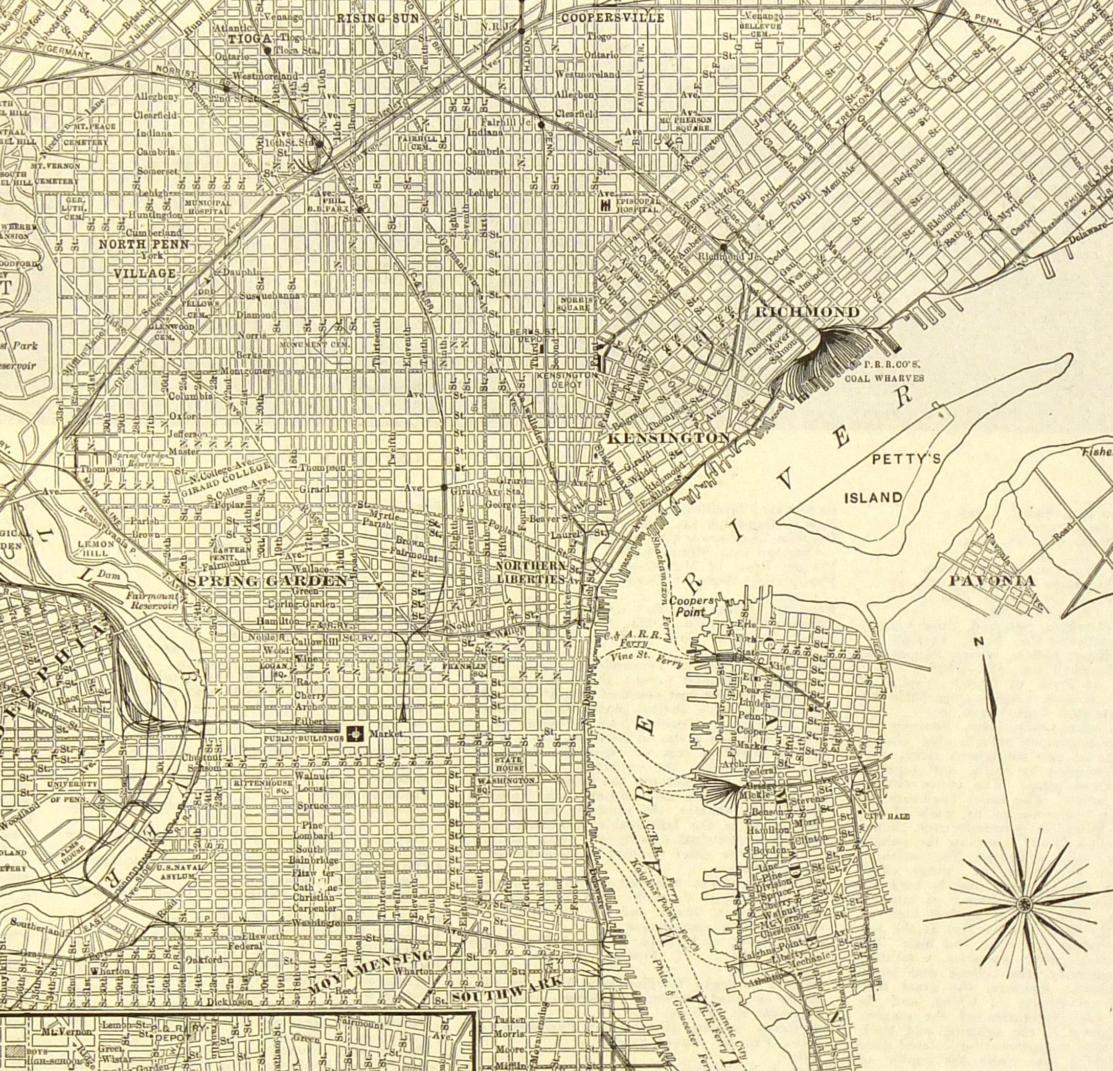 Philadelphia map 1906 original art antique maps prints philadelphia map 1908 detail 6537k freerunsca Gallery