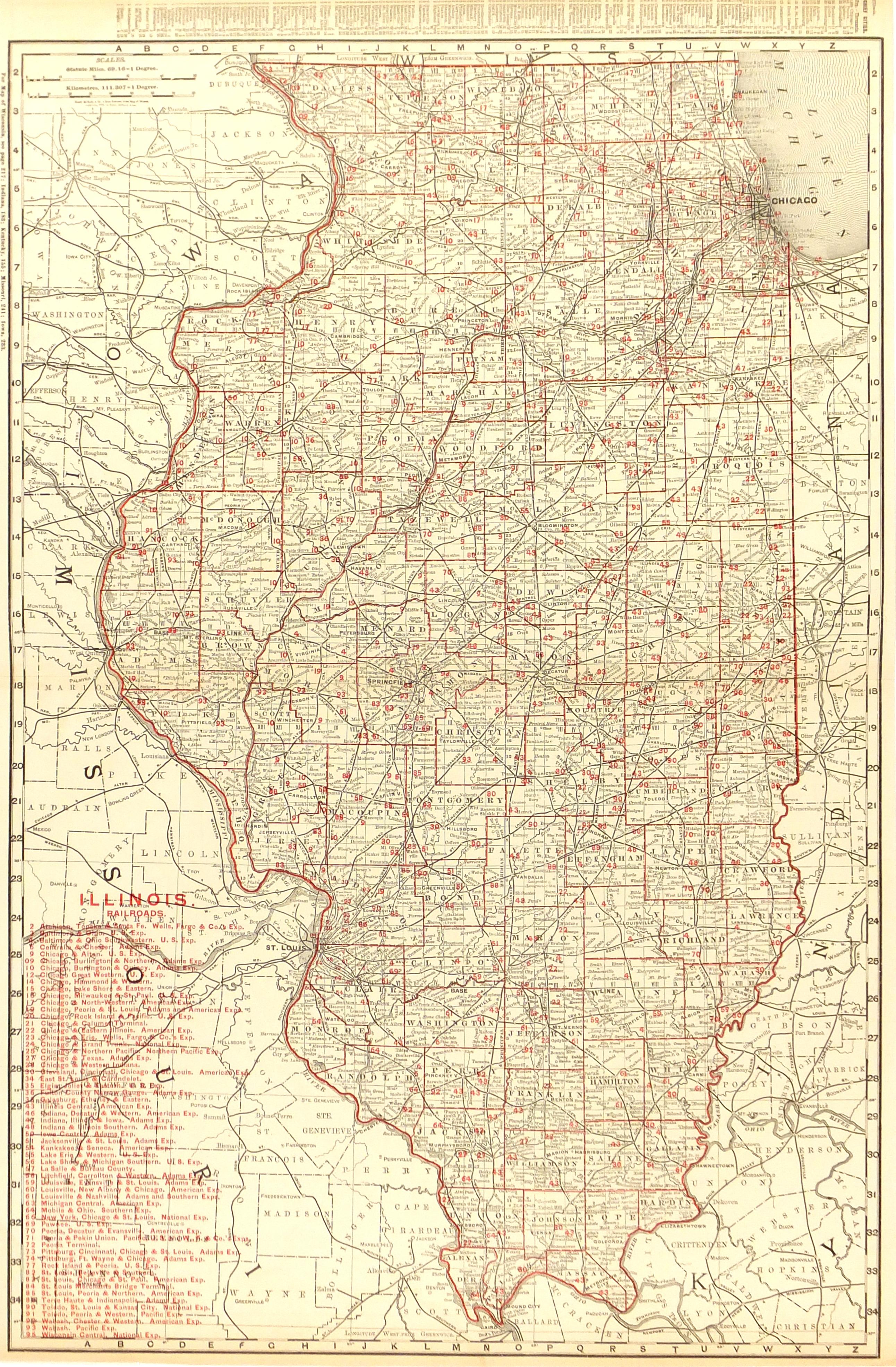 Illinois Counties & Railroads Map, 1895-main-6556K