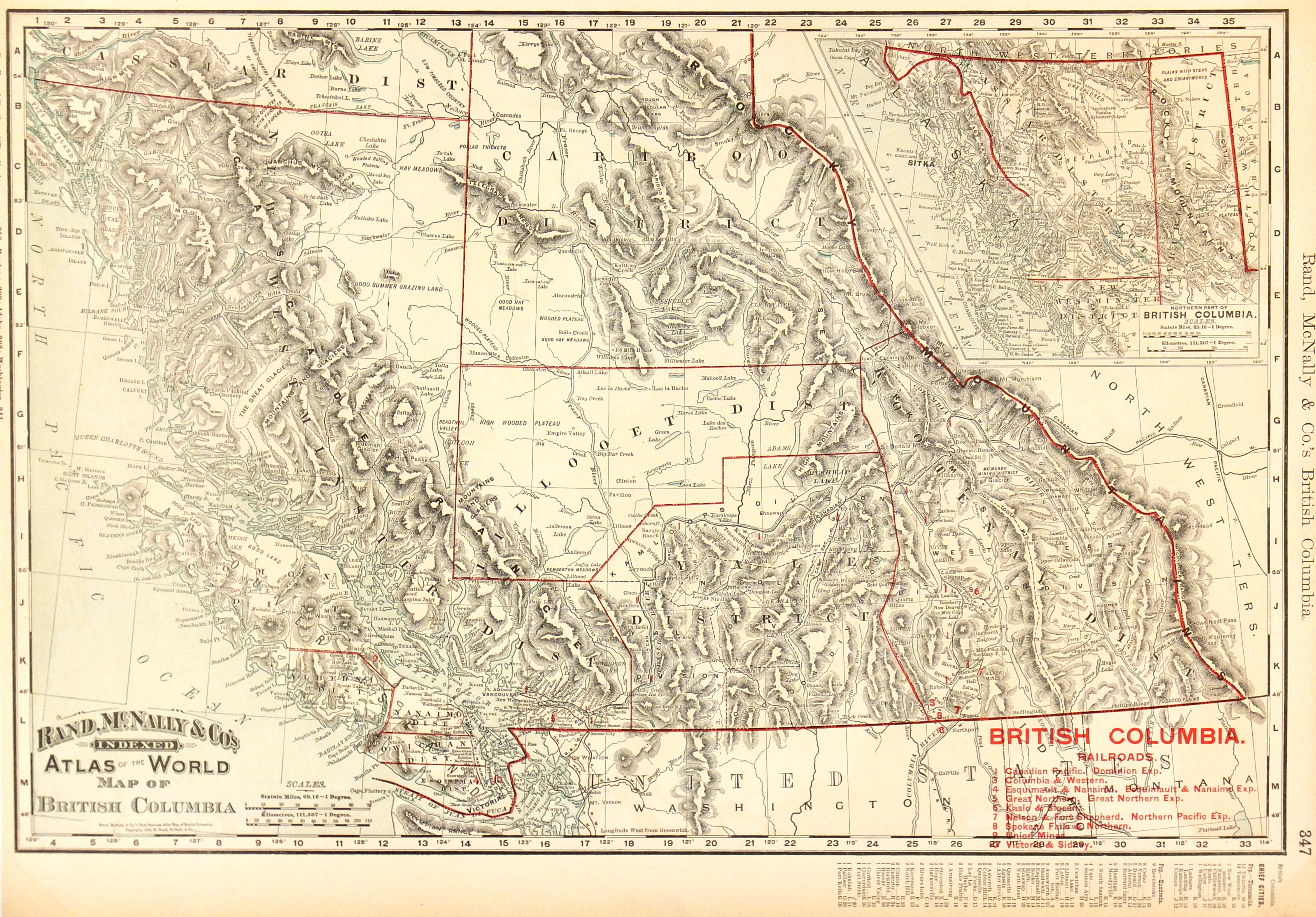 British Columbia Canada Map 1895 Original Art Antique