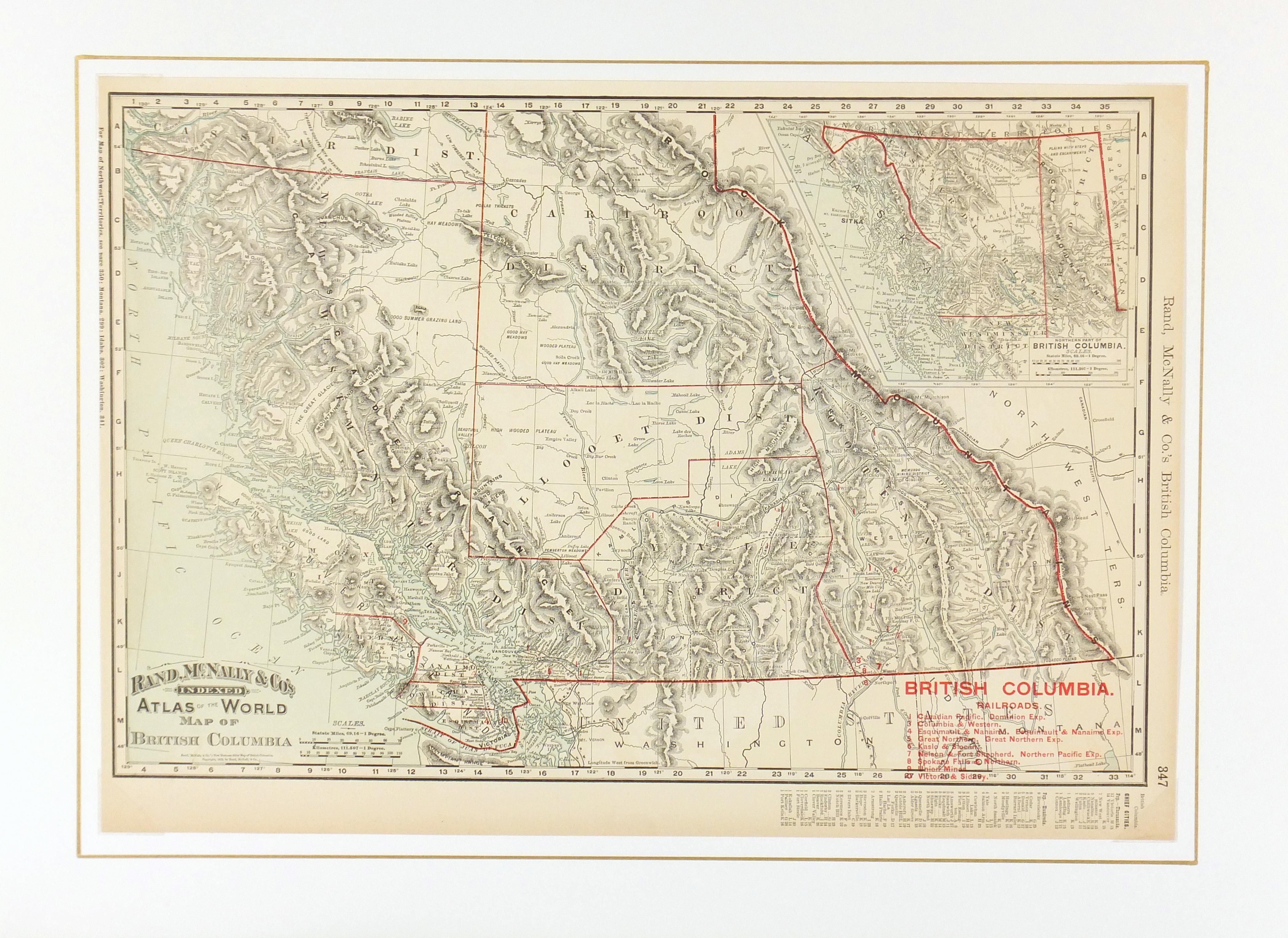 British Columbia, Canada Map, 1895-matted-6587K