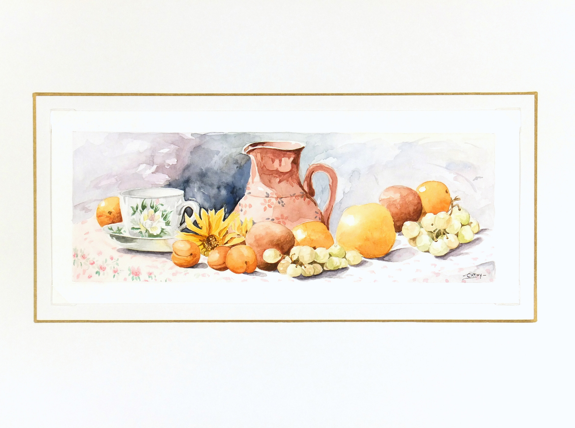 Watercolor Still Life- Season Harvest-matted-7017K