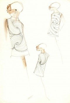 Mod Dress Fashion Sketch, C. 1960-main-7025G