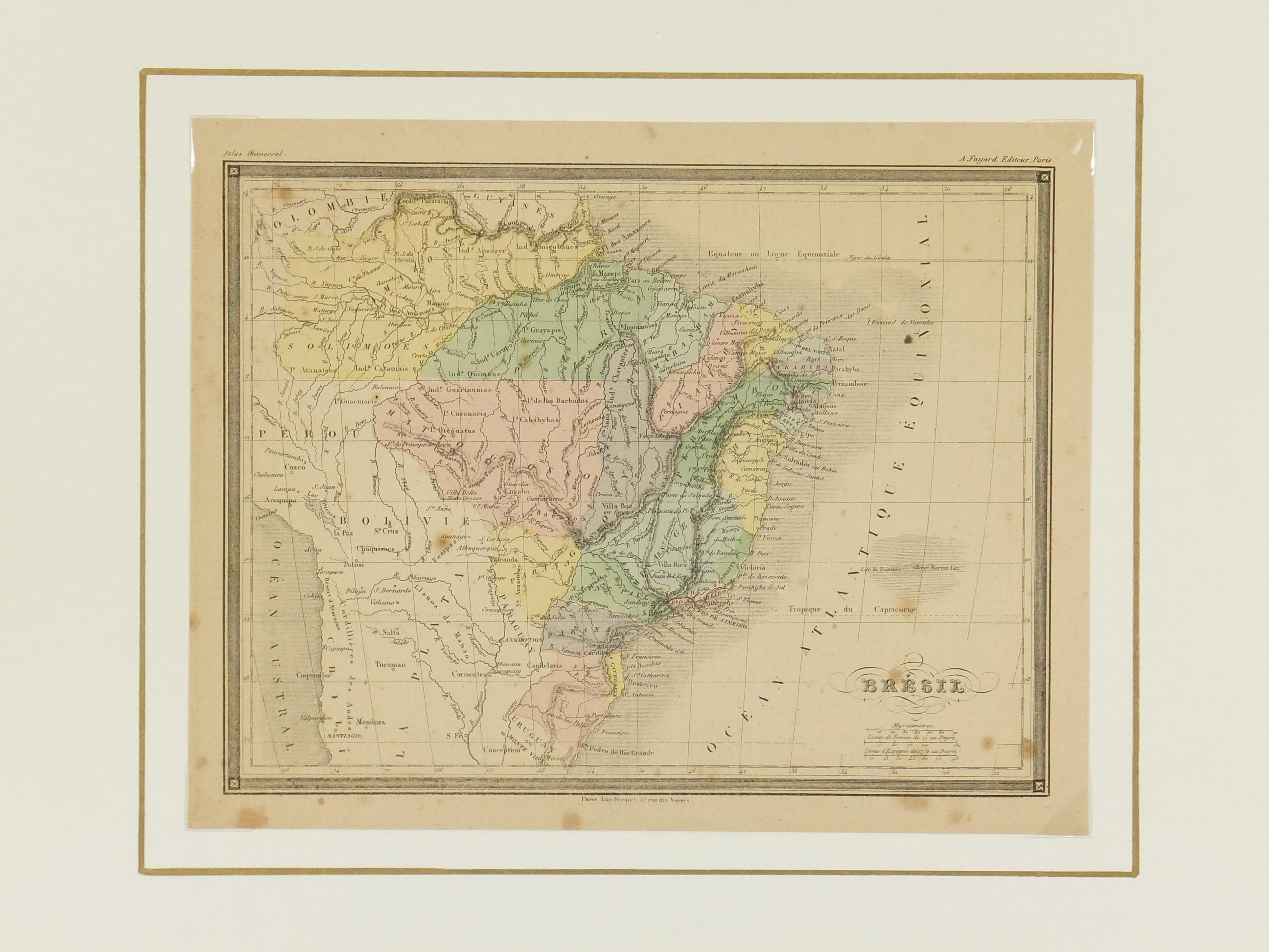 Brazil Map, 1877-matted-7303K