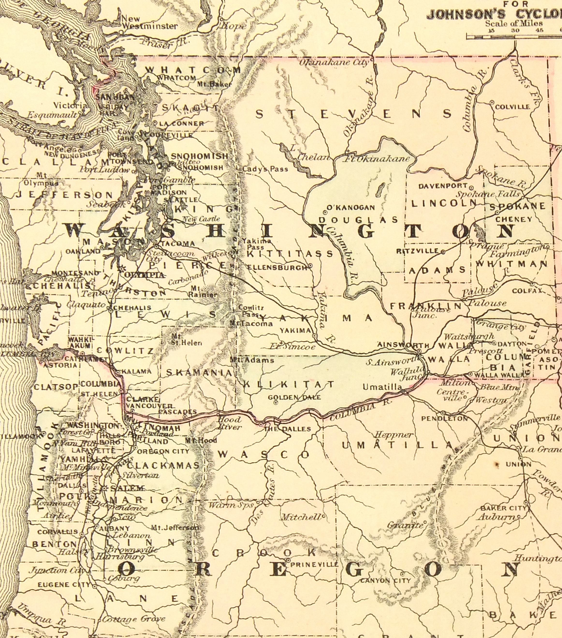 Washington & Oregon, 1885-detail-7340K