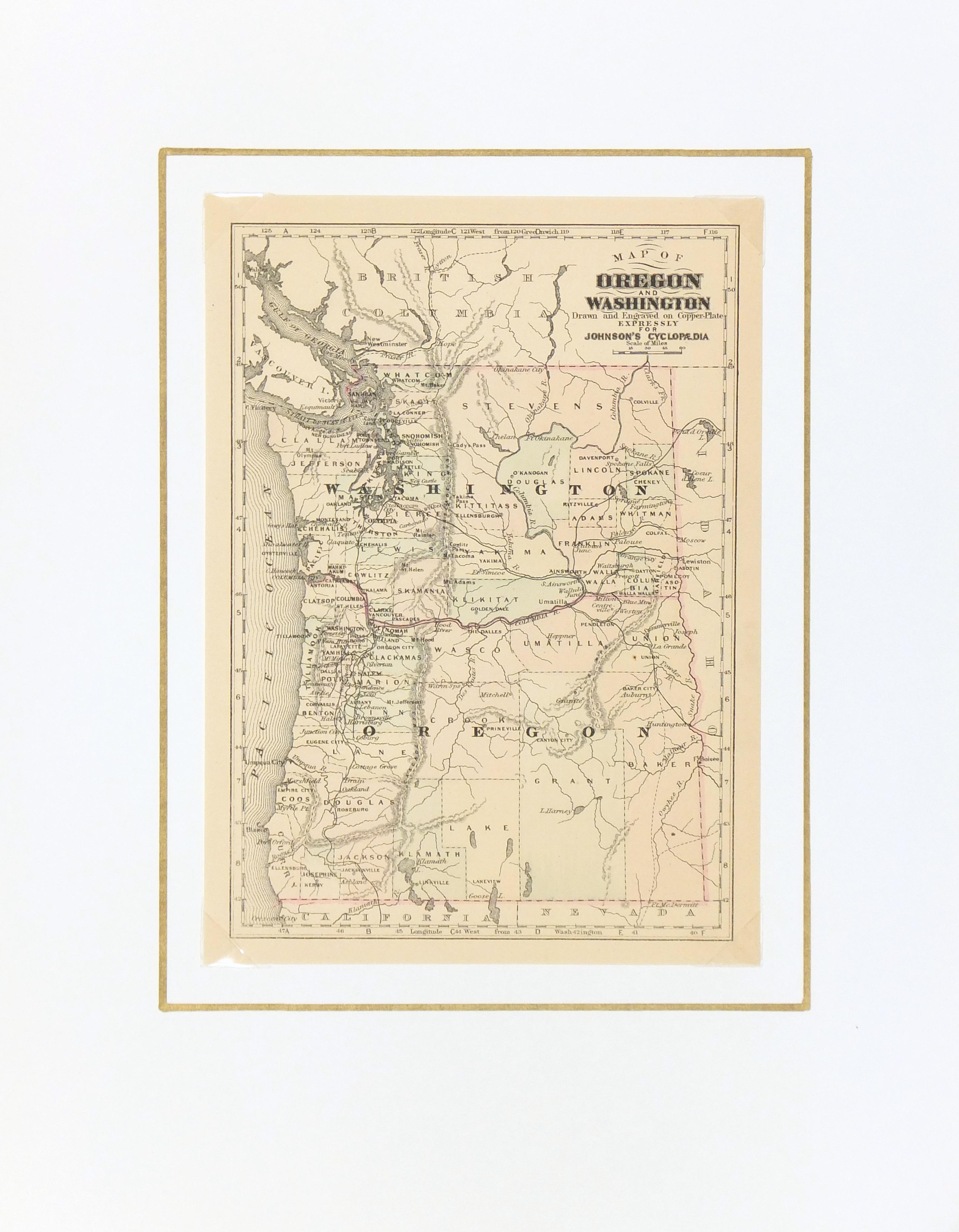 Washington & Oregon, 1885-matted-7340K