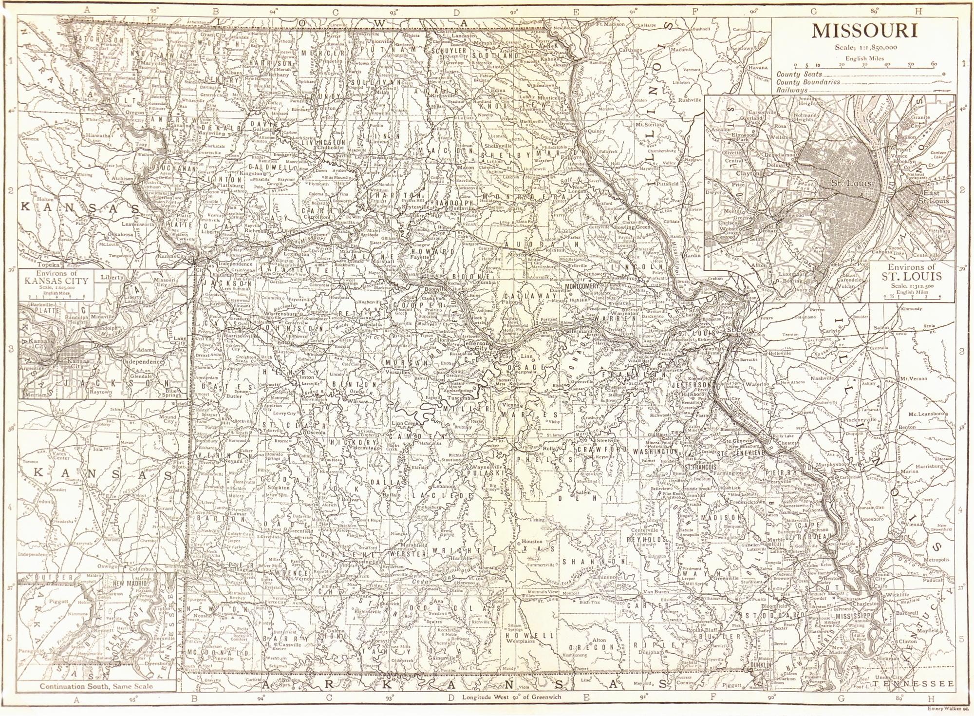 Missouri Map, 1910-main-7403K
