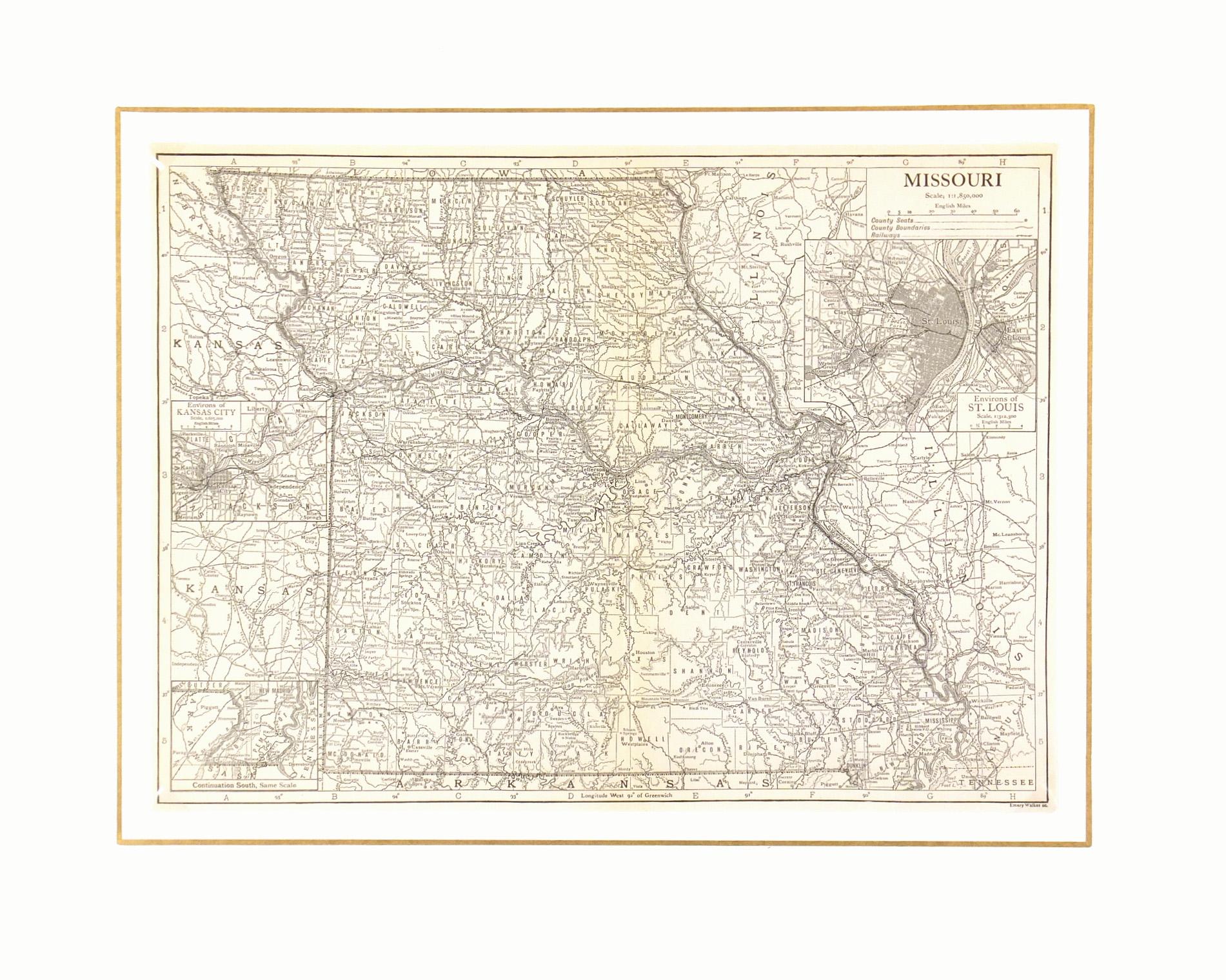 Missouri Map, 1910-matted-7403K