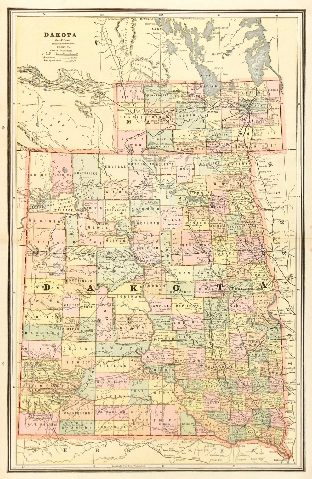 Dakota Territory Map, 1885-main-7625K