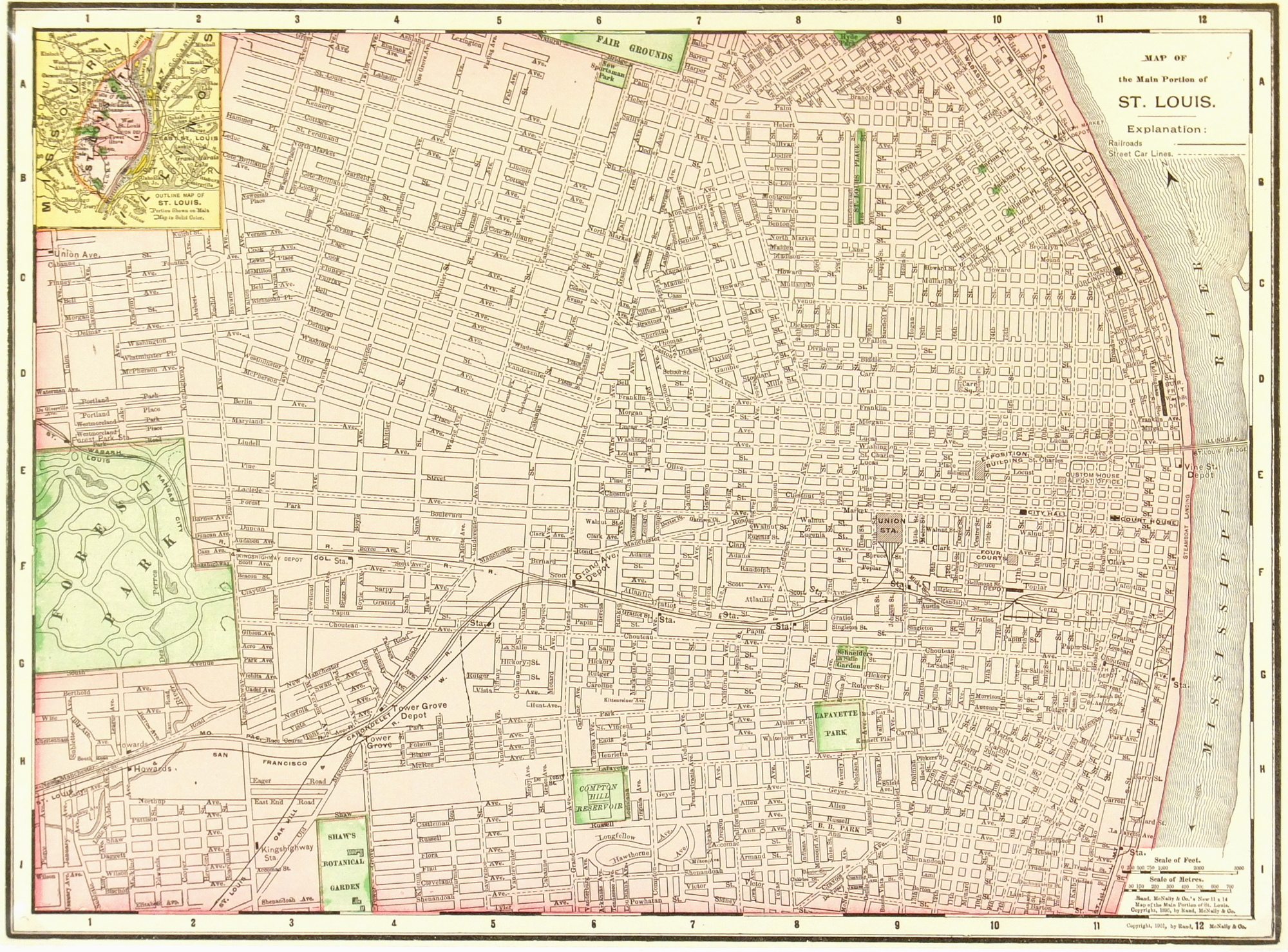 St. Louis, Missouri Map, 1901 - Original Art, Antique Maps & Prints