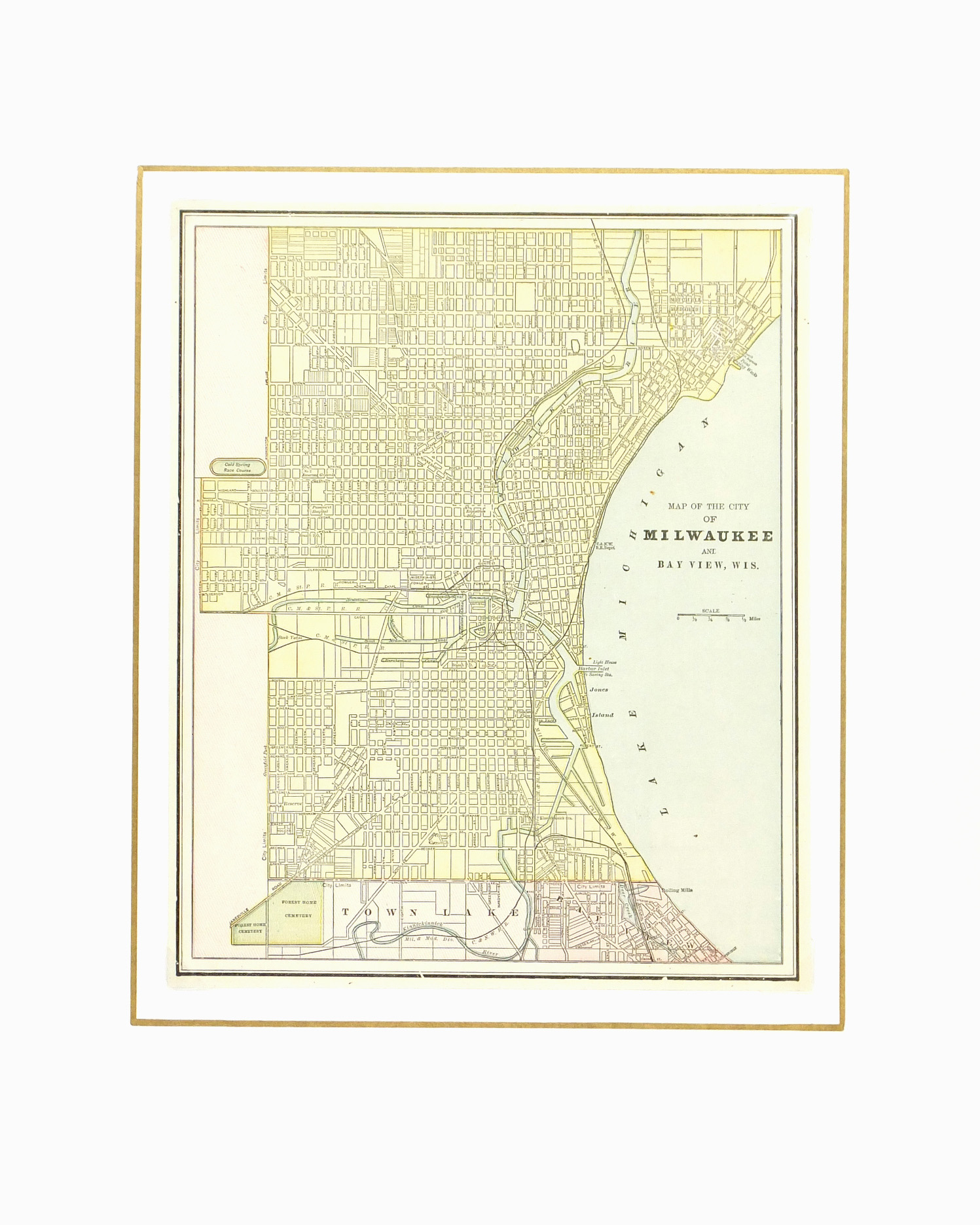 Milwaukee Map,1889-matted-7648K