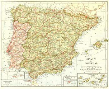 Spain & Portugal Map, 1906-main-7692K