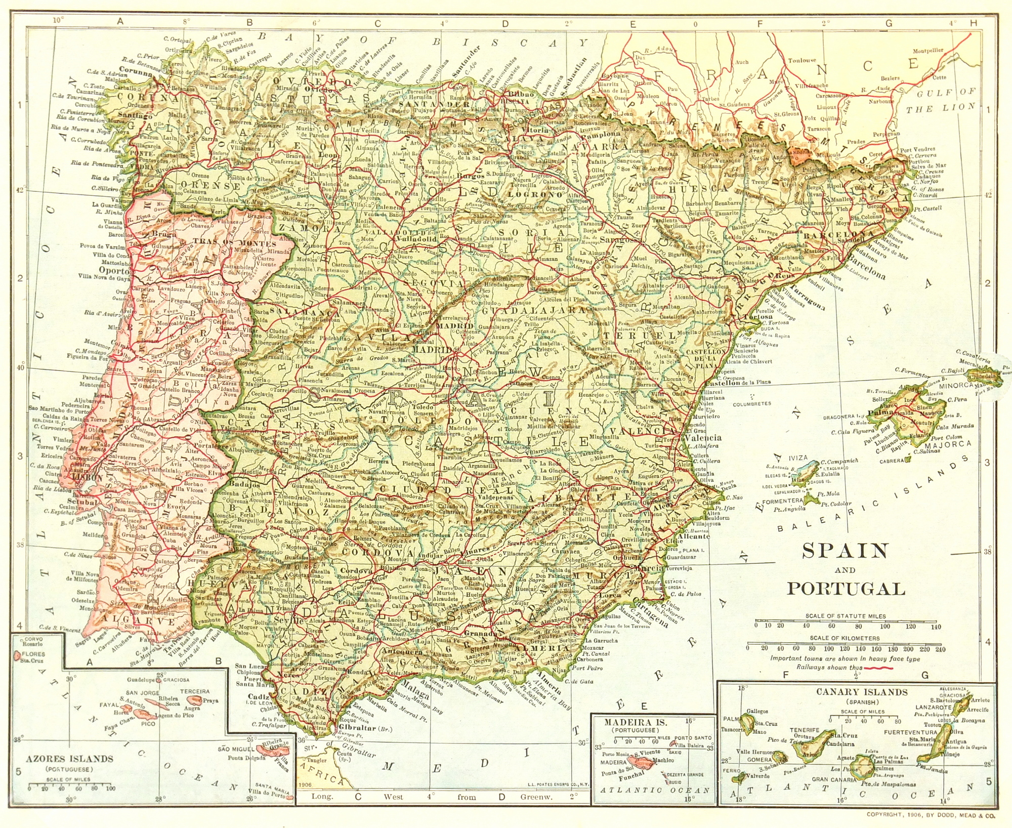 Map Of Spain Rivers And Mountains.Spain Portugal Map 1906 Original Art Antique Maps Prints