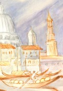 Watercolor Landscape - On the Gondola, Circa 1960-detail-7833K