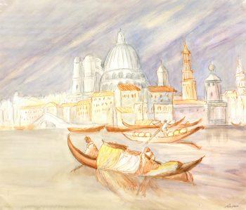 Watercolor Landscape - On the Gondola, Circa 1960-main-7833K