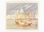 Watercolor Landscape - On the Gondola, Circa 1960-matted-7833K