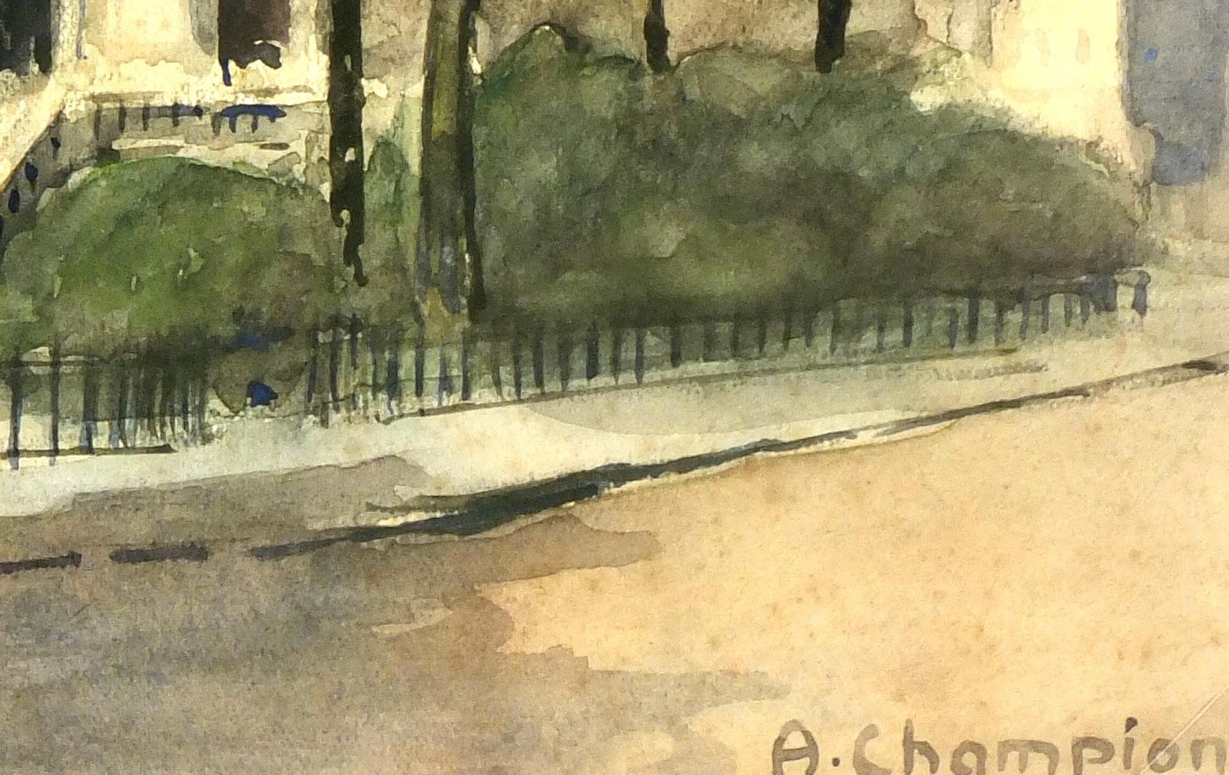 atercolor Landscape- St. Jacques Tower Paris, Circa 1930-detail 2-7840K