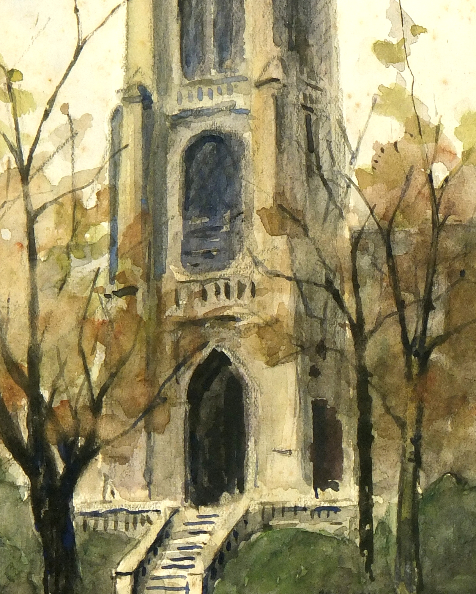 Watercolor Landscape- St. Jacques Tower Paris, Circa 1930-detail-7840K
