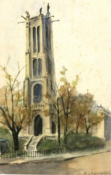 Watercolor Landscape- St. Jacques Tower Paris, Circa 1930-main-7840K