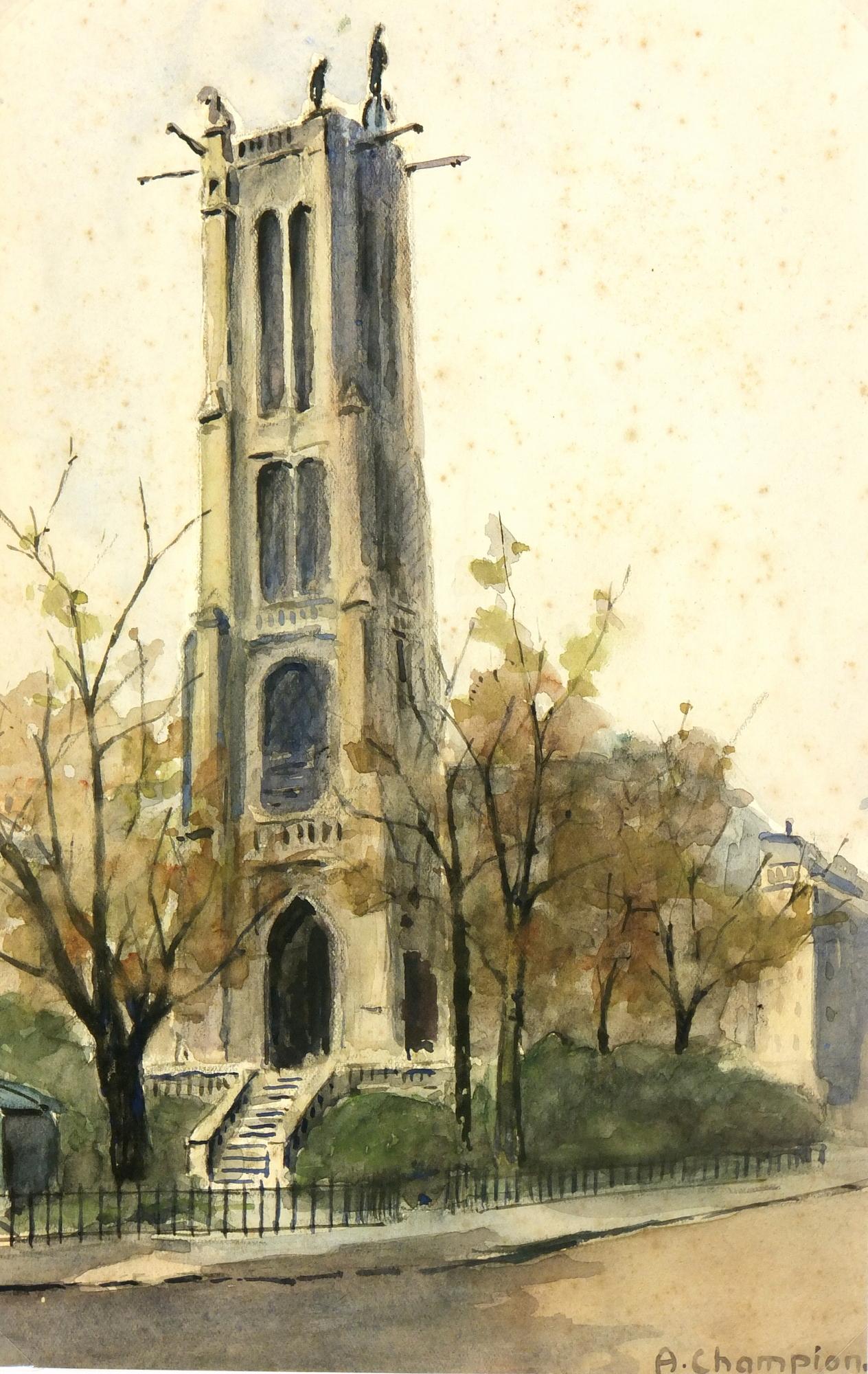 Watercolor Landscape- St. Jacques Tower Paris, Circa 1930-main-7840K