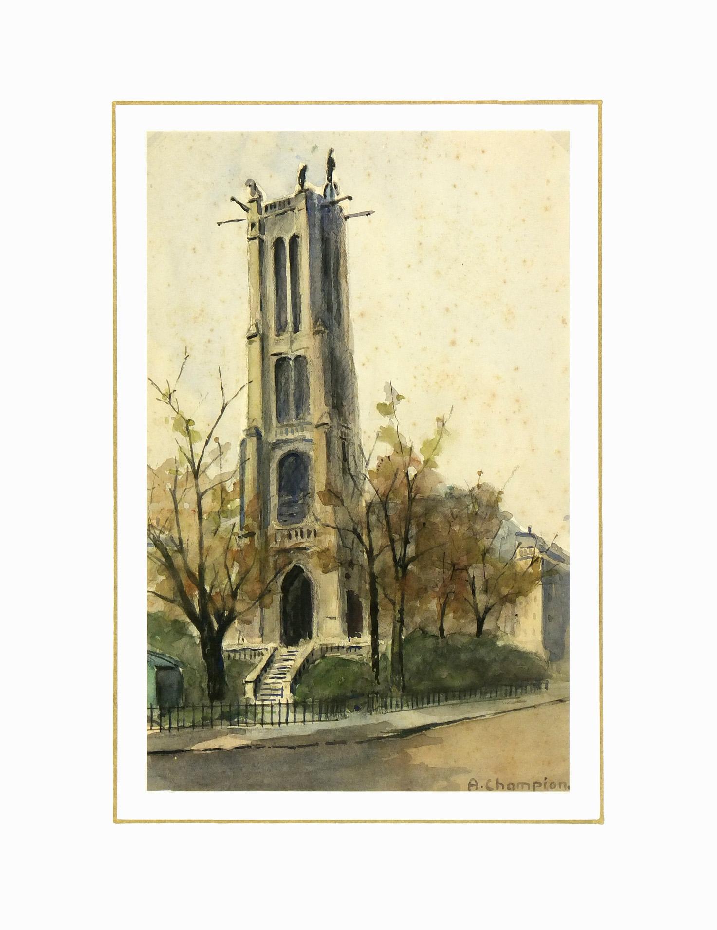 Watercolor Landscape- St. Jacques Tower Paris, Circa 1930-matted-7840K
