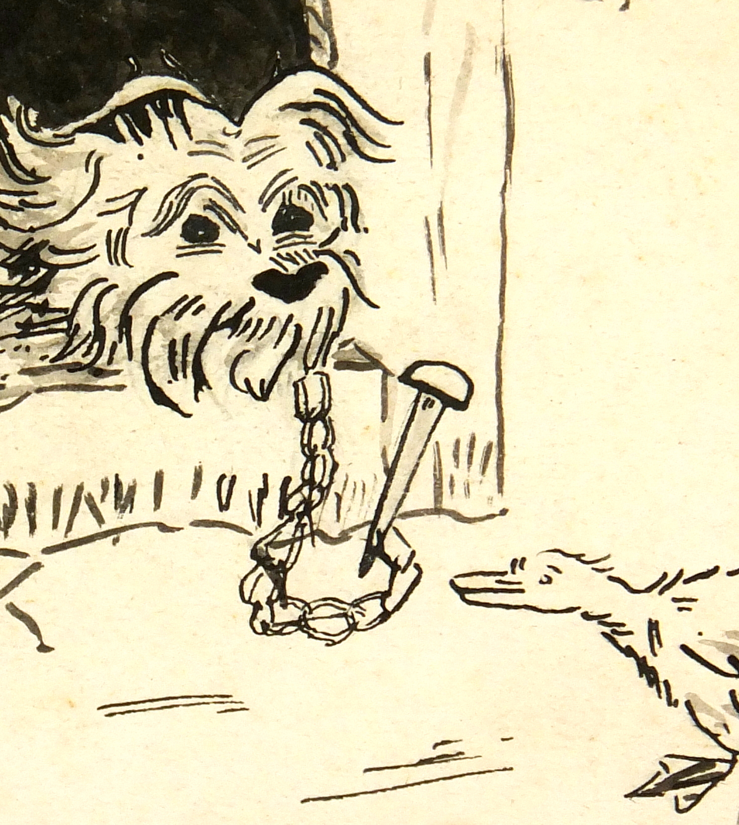 Drawing of Dog, Circa 1930-detail-7850K