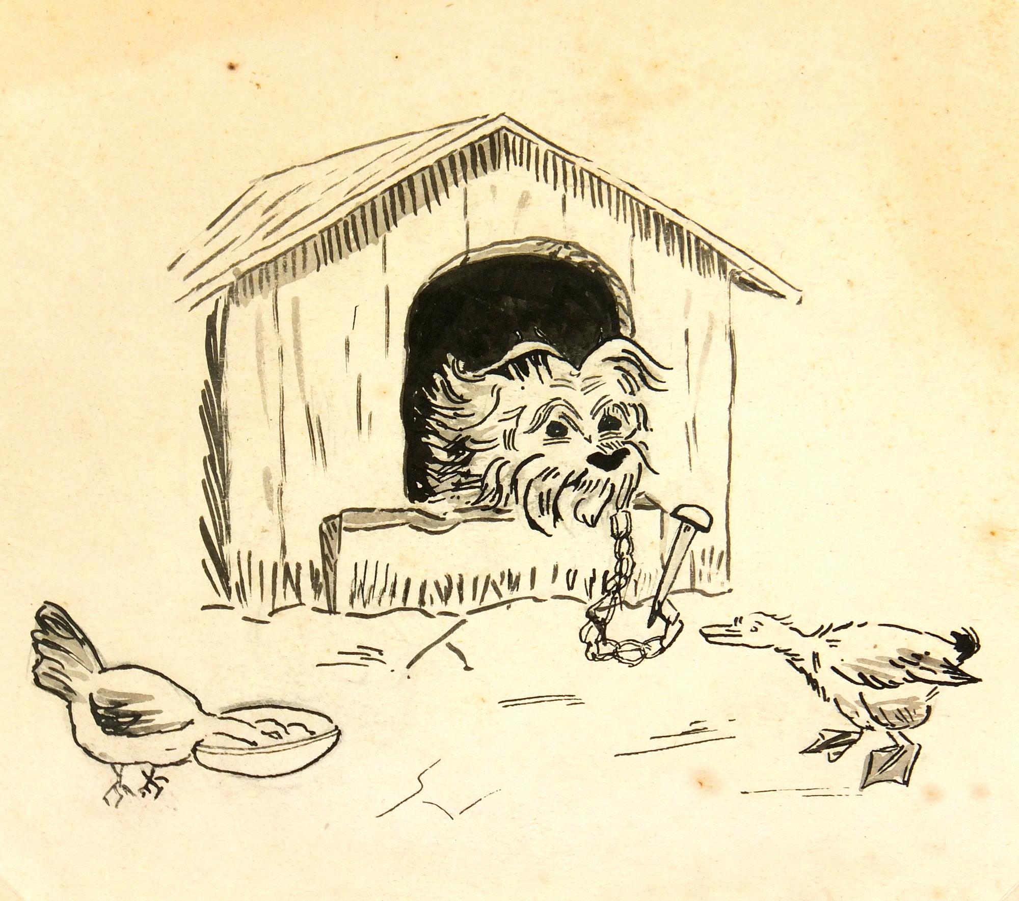 Drawing of Dog, Circa 1930-main-7850K