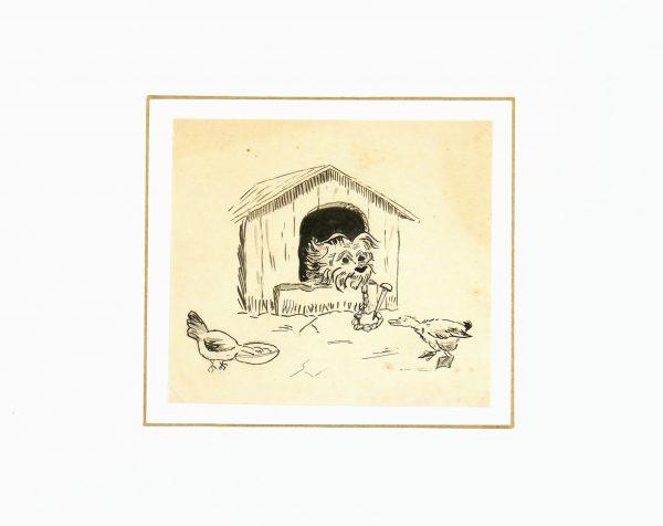 Drawing of Dog, Circa 1930-matted-7850K