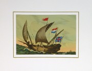 Woodcut- Old Battleship, Circa 1930-matted-8082k